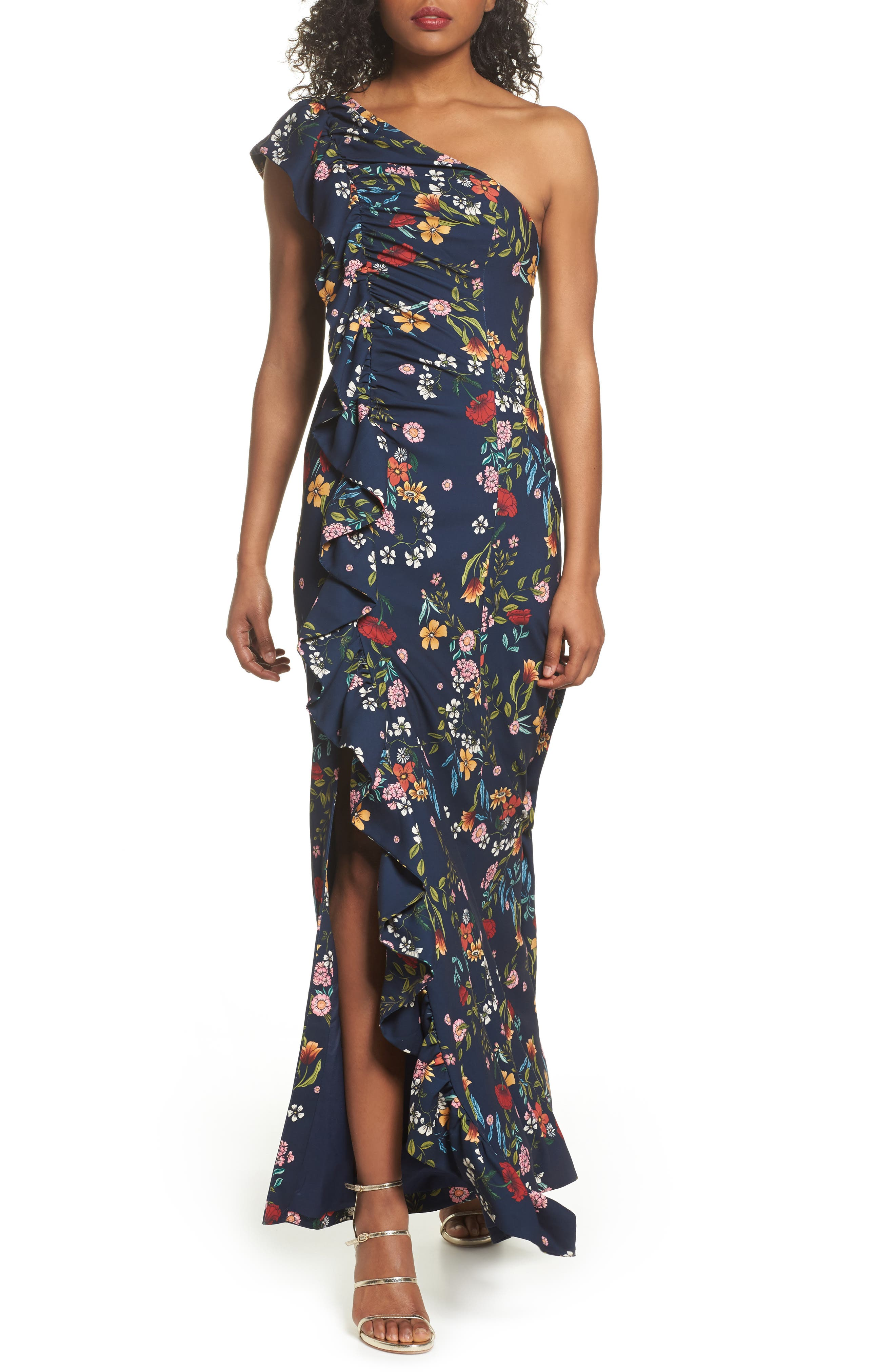 No Matter Floral One-Shoulder Gown,                             Main thumbnail 1, color,                             Navy Floral