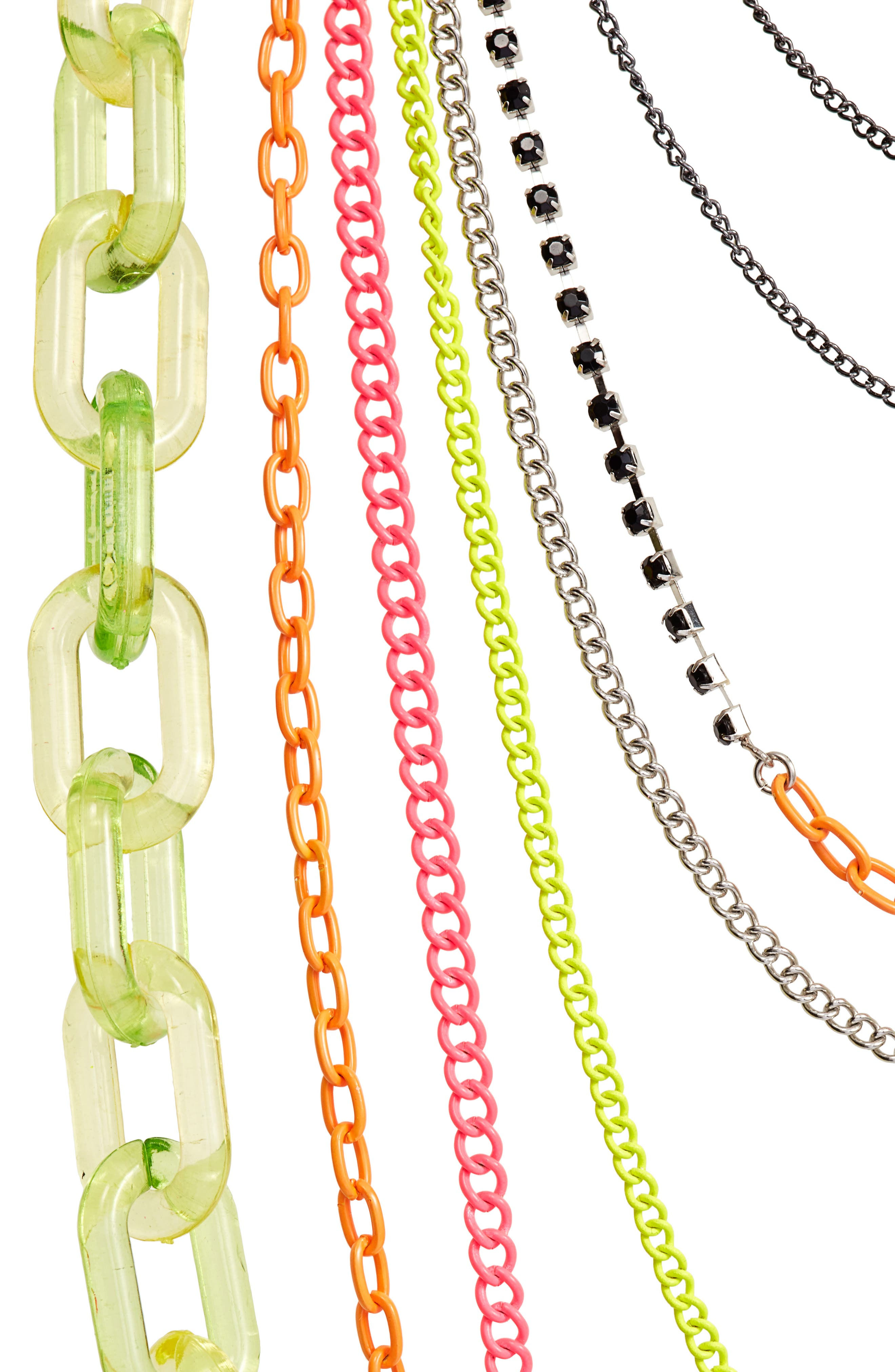 Layered Link Necklace,                             Alternate thumbnail 2, color,                             Neon Lime