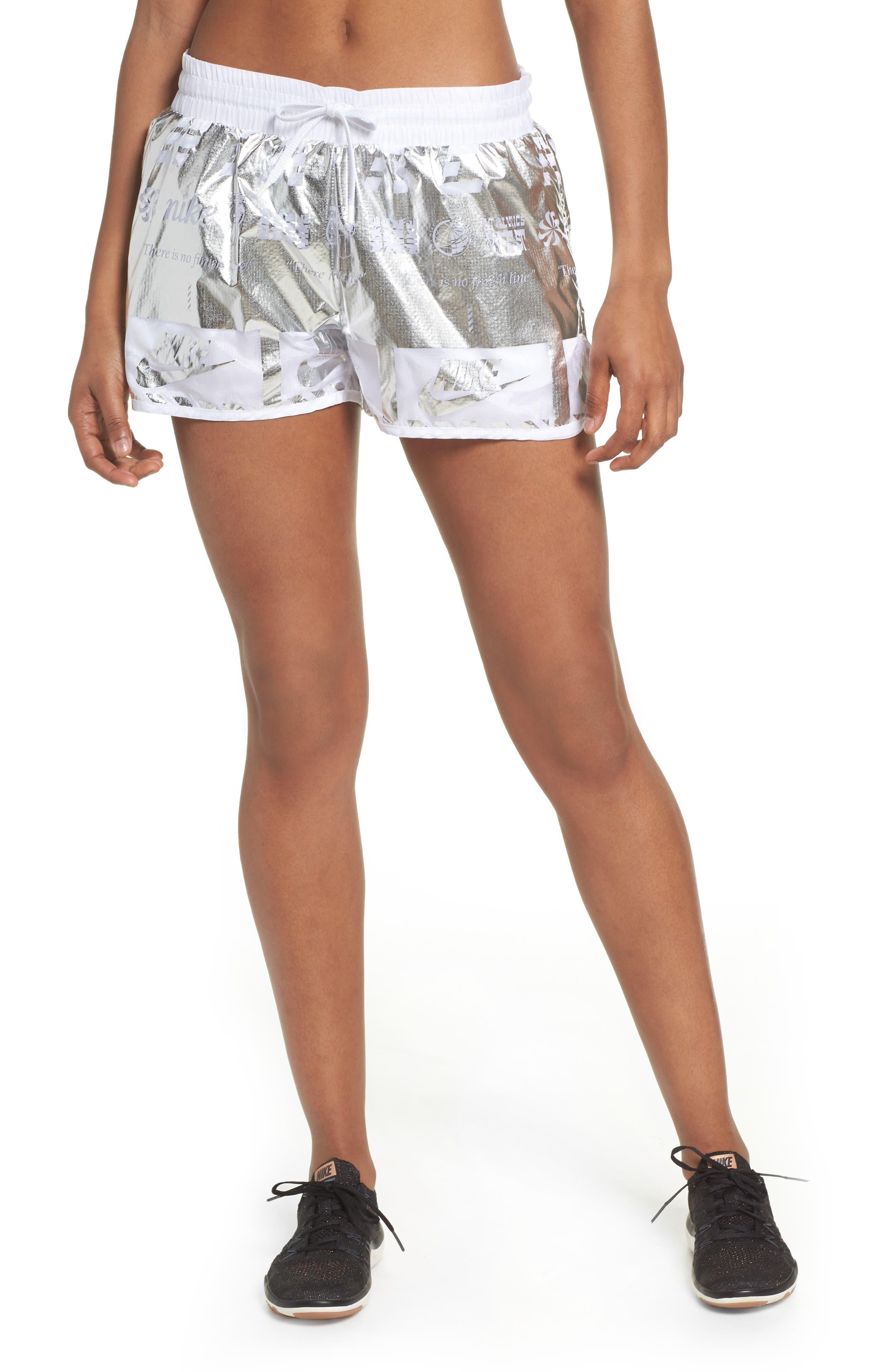 Sportswear Women's Metallic Shorts,                             Main thumbnail 1, color,                             White/ White