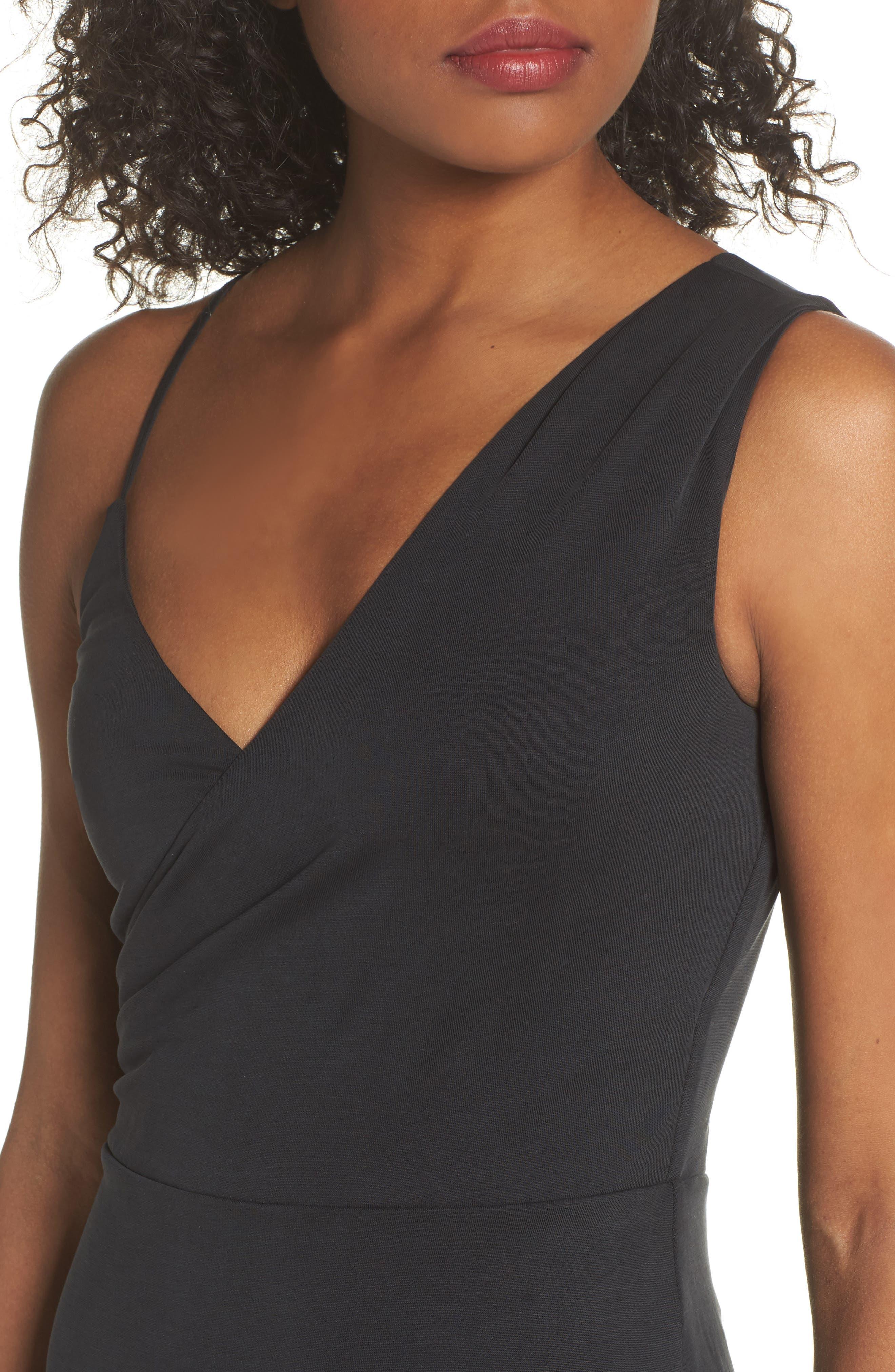Gracie Cupro Body-Con Dress,                             Alternate thumbnail 4, color,                             Black