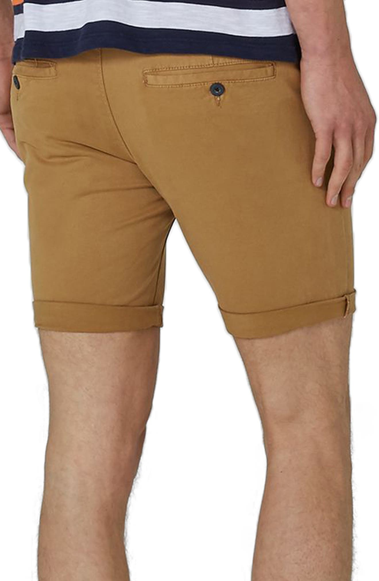 Stretch Skinny Chino Shorts,                             Alternate thumbnail 2, color,                             Yellow