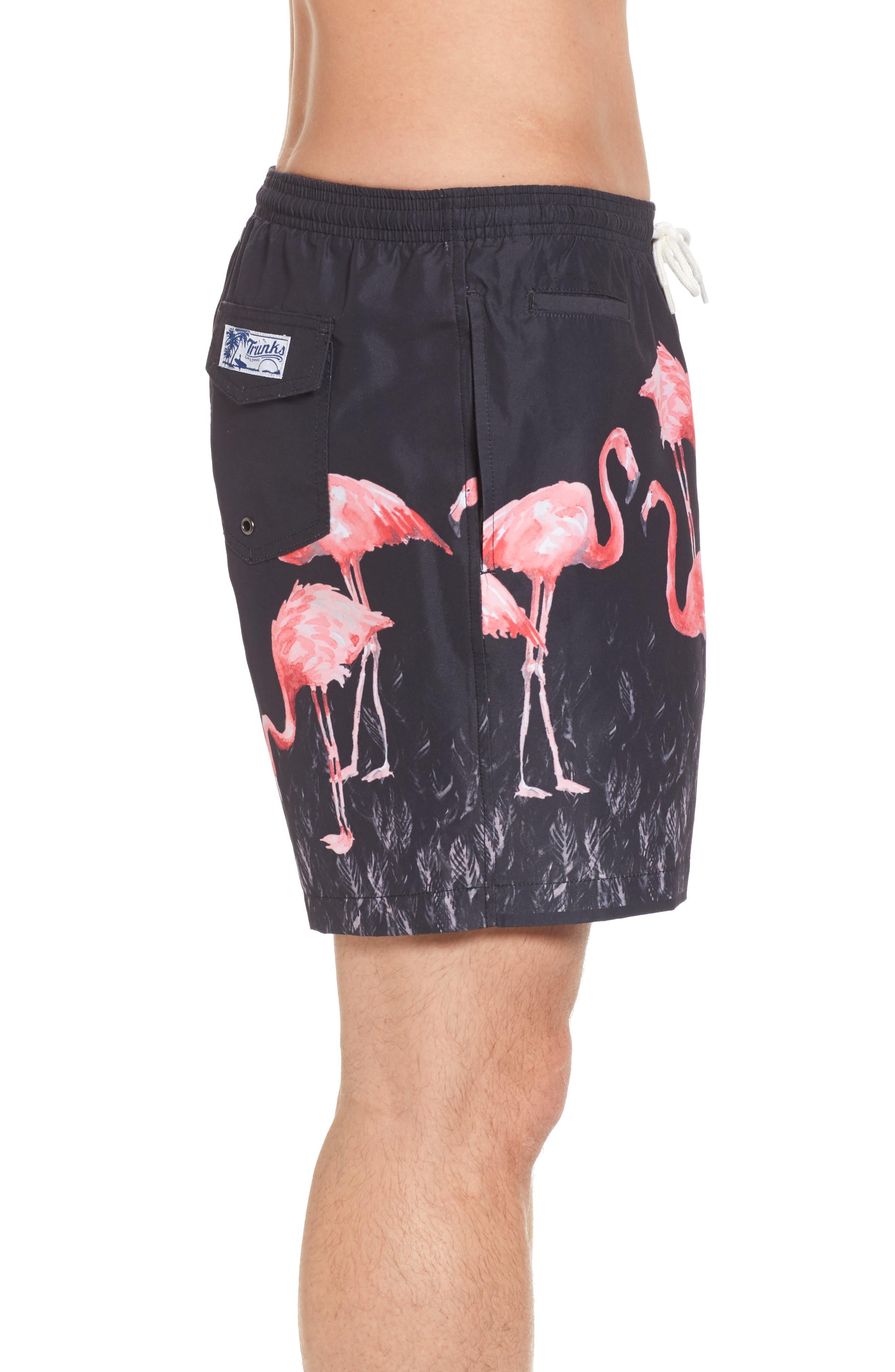 San O Flamingo Print Swim Trunks,                             Alternate thumbnail 3, color,                             Black Multi