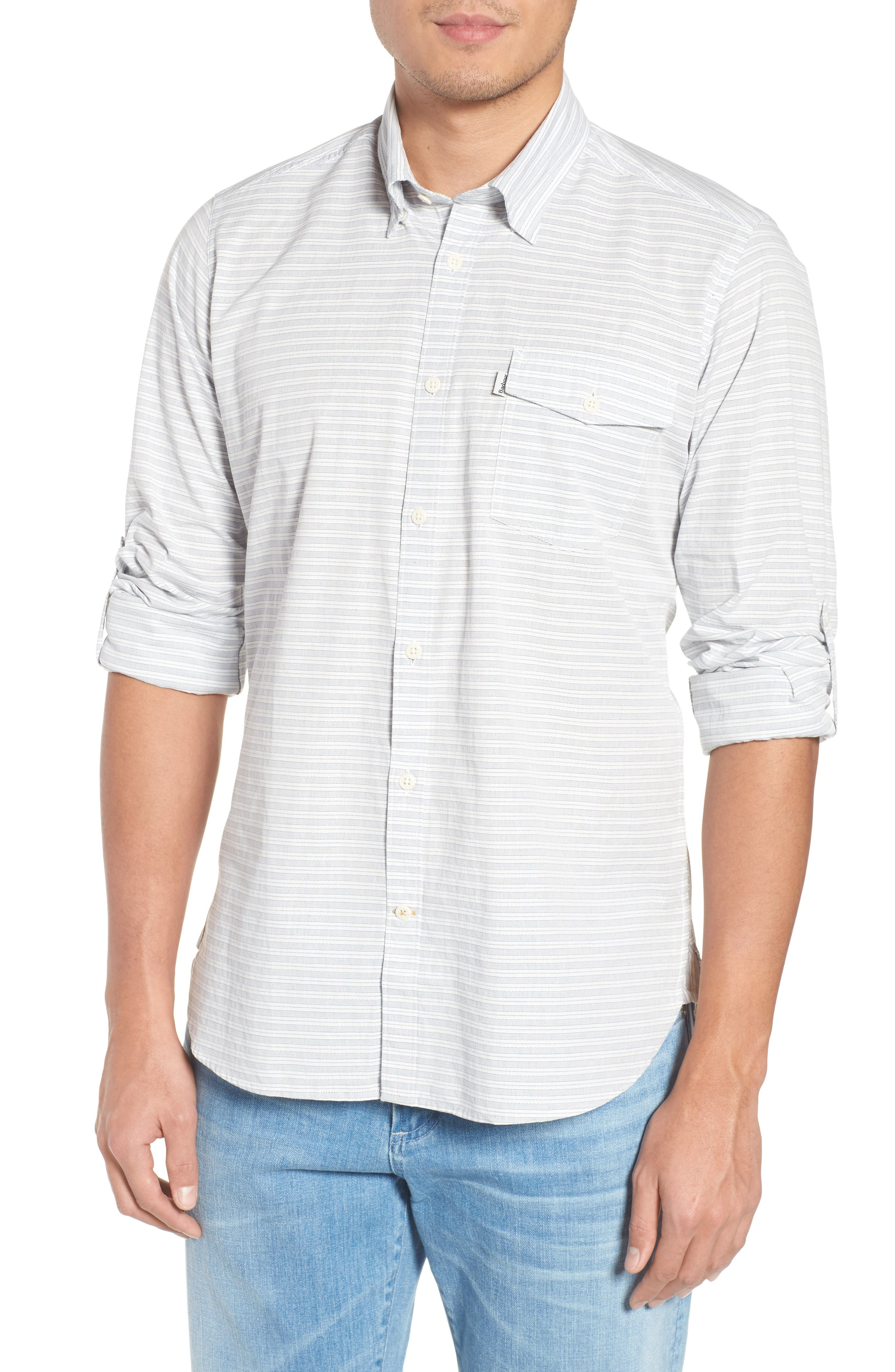 Huchen Regular Fit Stripe Sport Shirt,                         Main,                         color, White