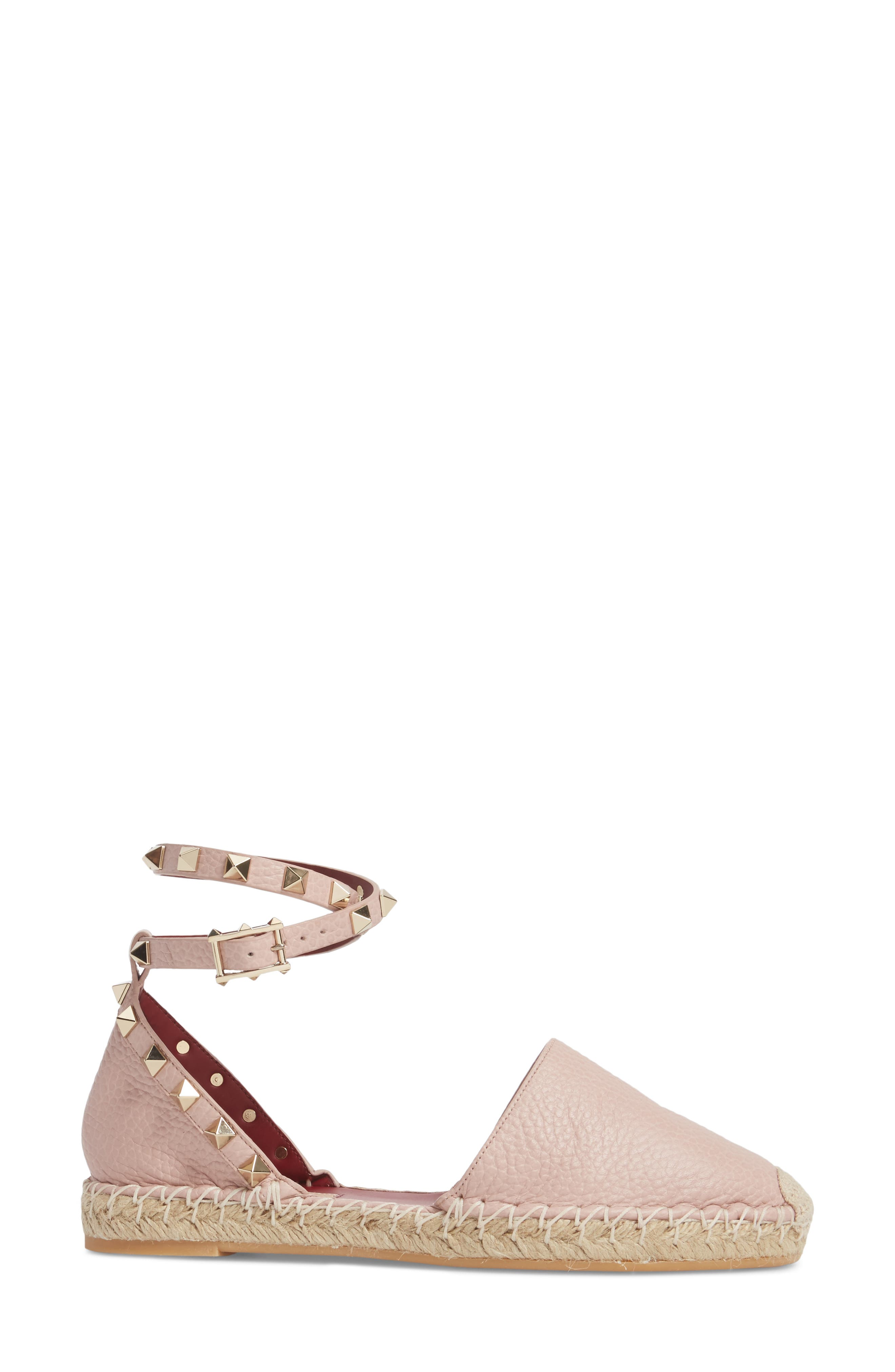Rockstud Ankle Strap Espadrille,                             Alternate thumbnail 3, color,                             Water Rose