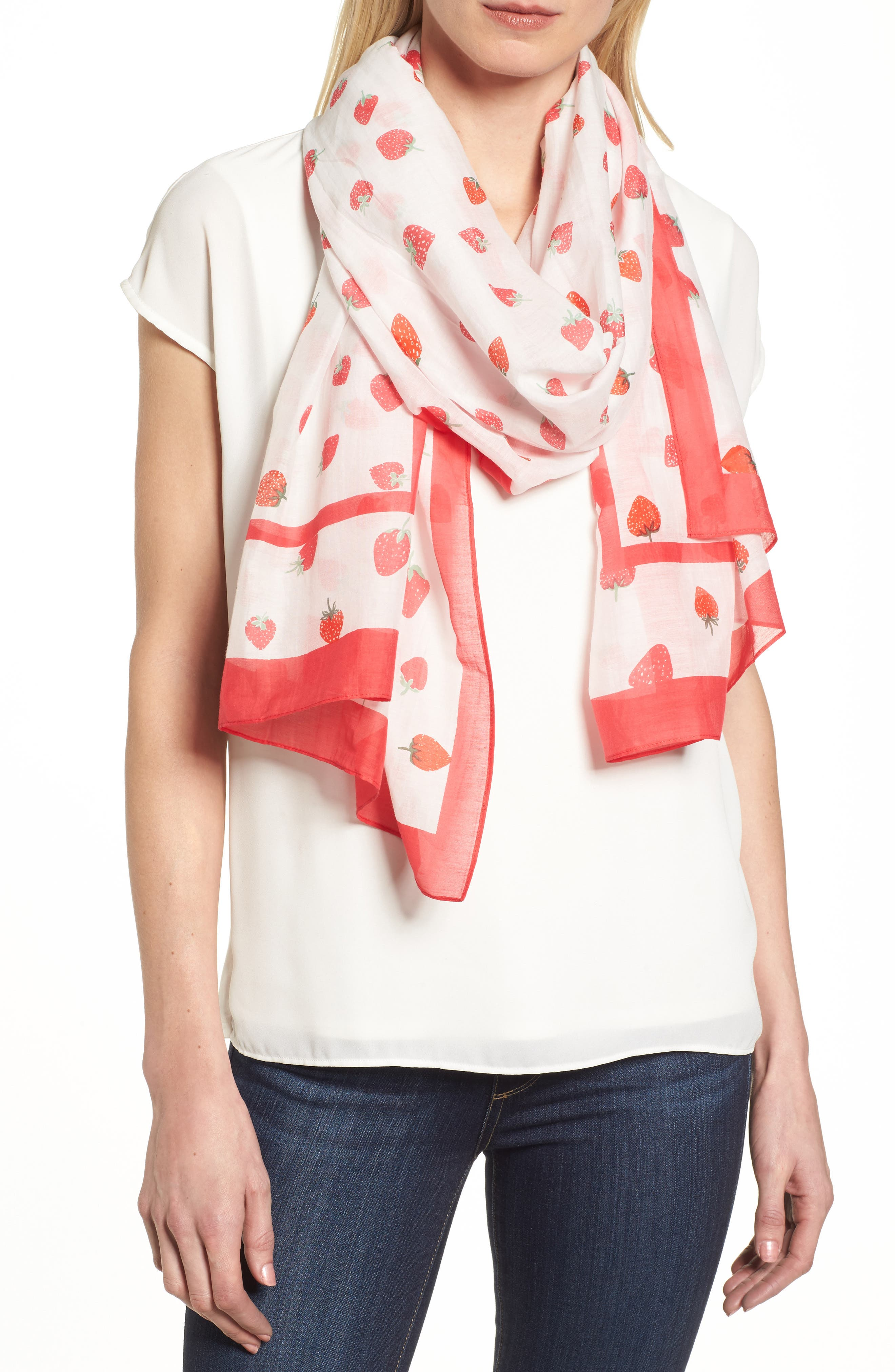 tossed berry cotton & silk scarf,                         Main,                         color, Cream