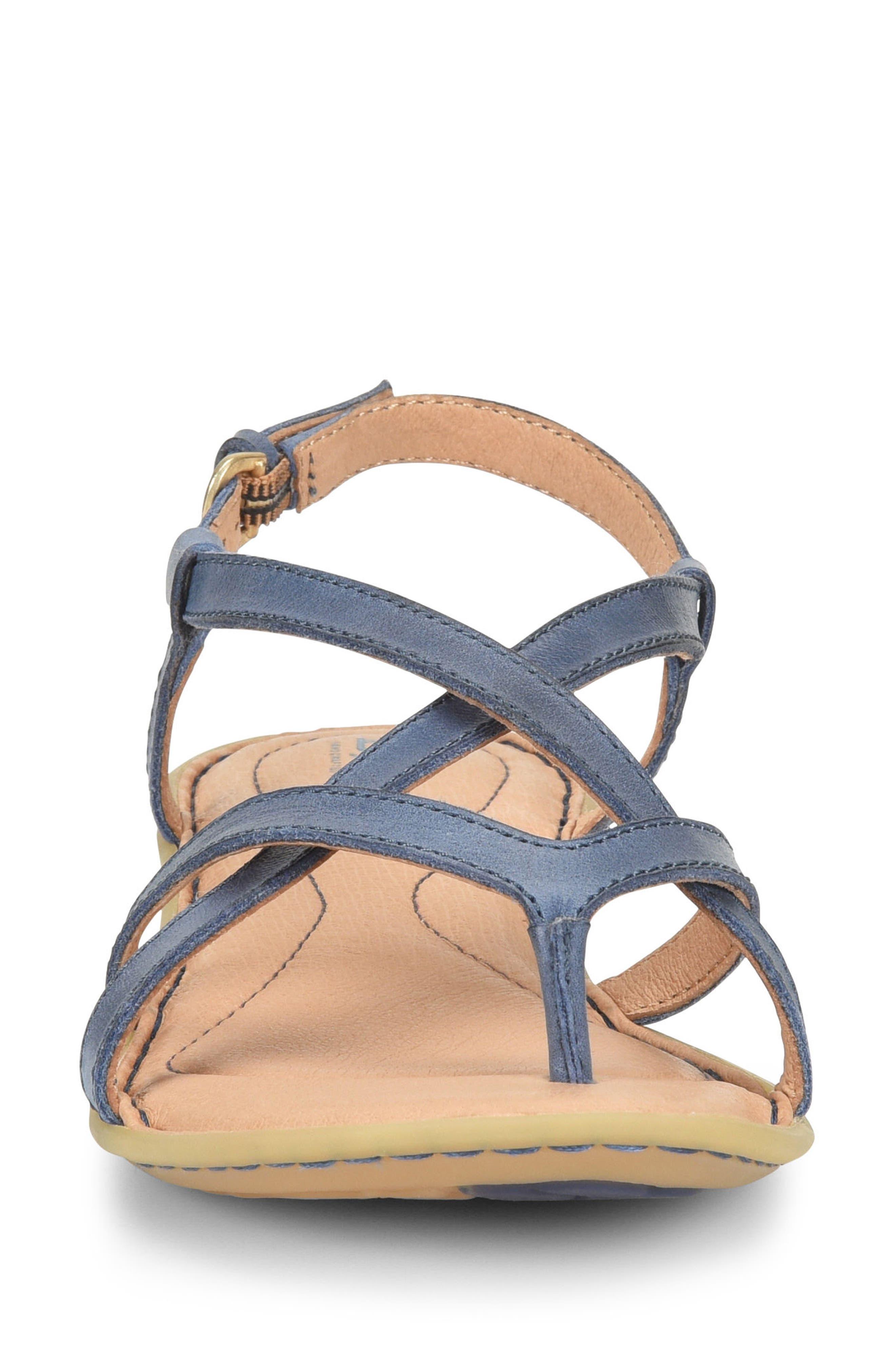 Mai Strap Sandal,                             Alternate thumbnail 4, color,                             Navy Leather