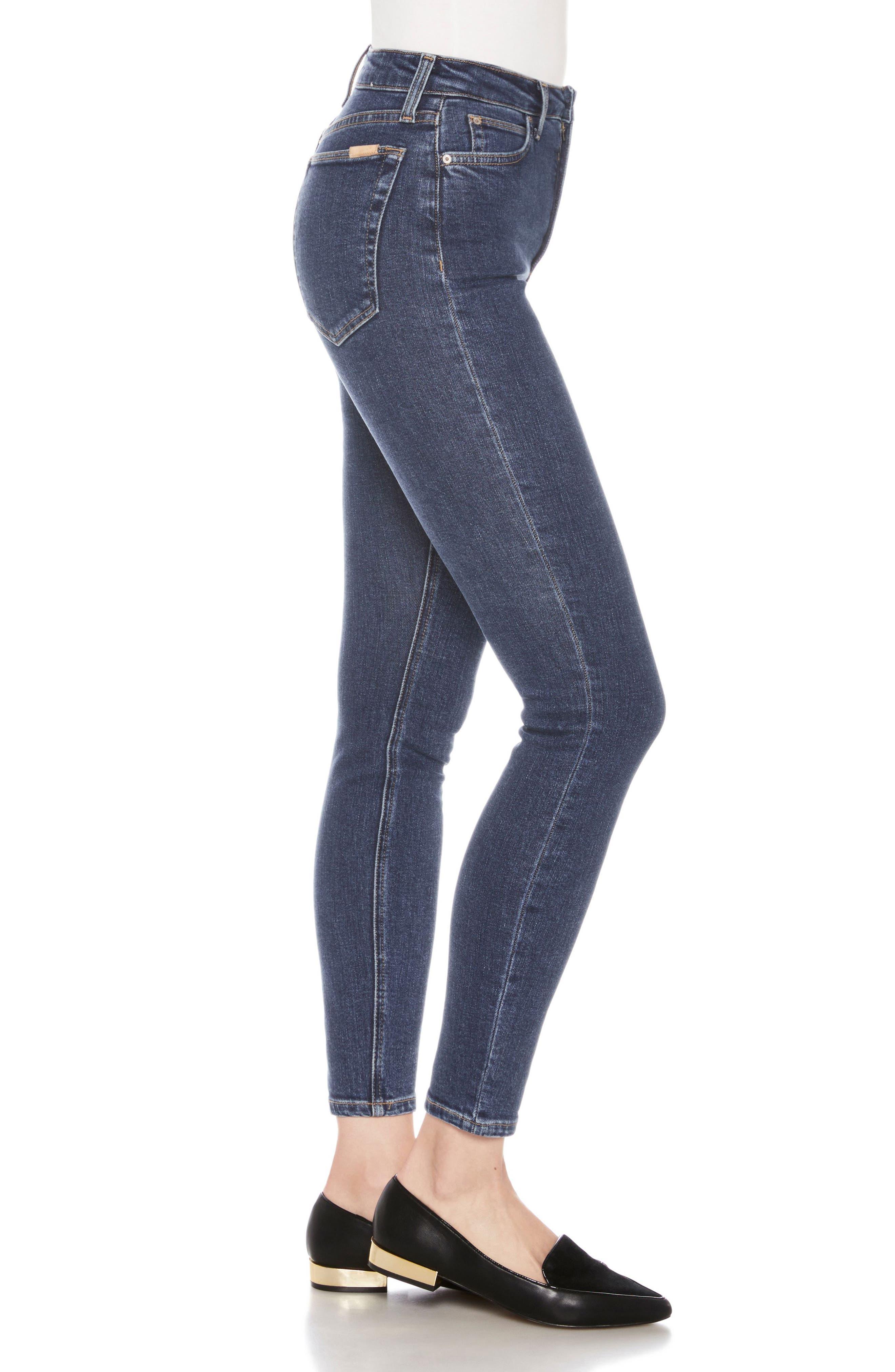 Bella High Waist Ankle Skinny Jeans,                             Alternate thumbnail 3, color,                             Austen