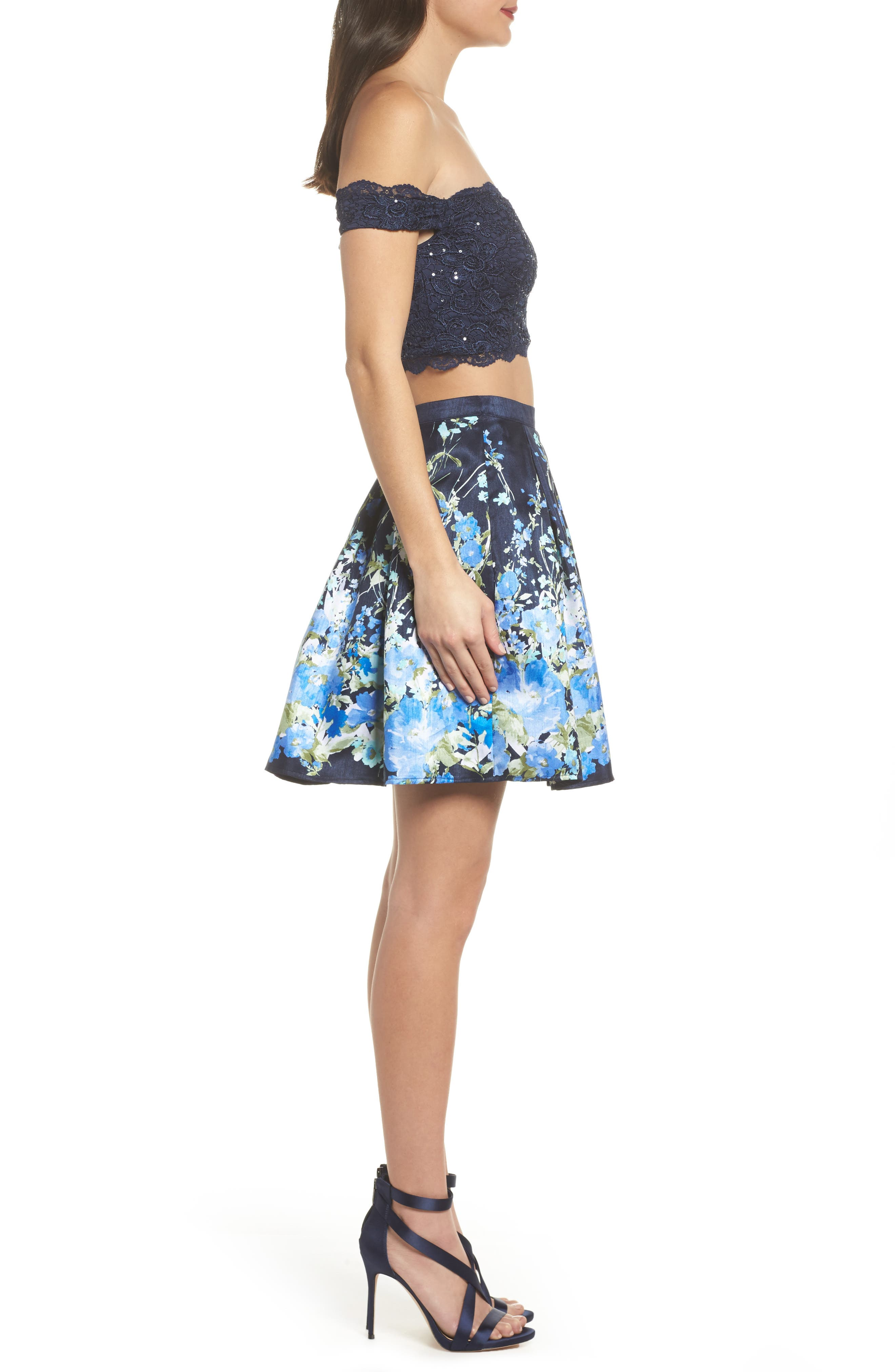 Off the Shoulder Two-Piece Dress,                             Alternate thumbnail 3, color,                             Navy/ Green