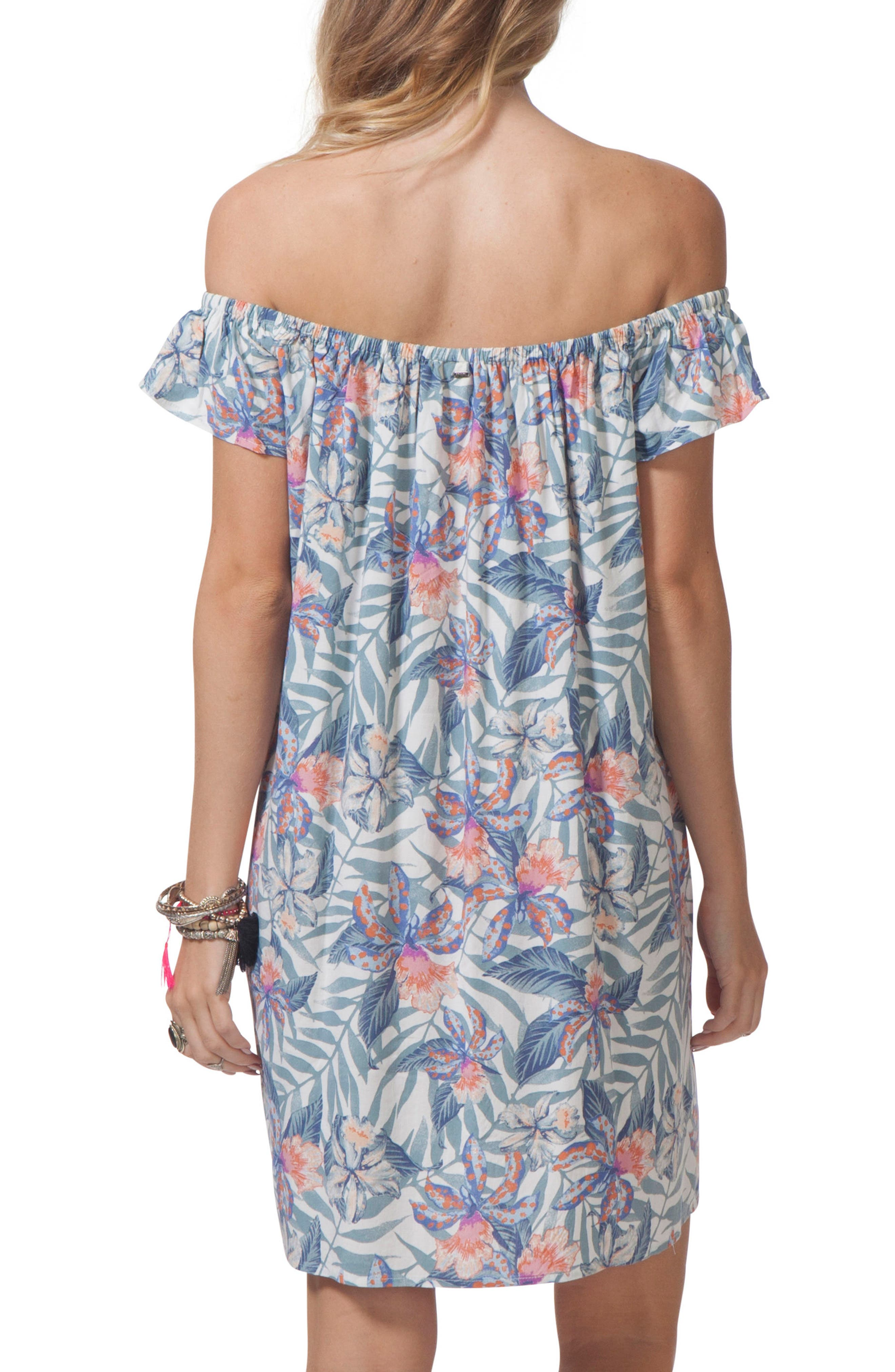 Tropic Off the Shoulder Cover-Up Dress,                             Alternate thumbnail 2, color,                             White