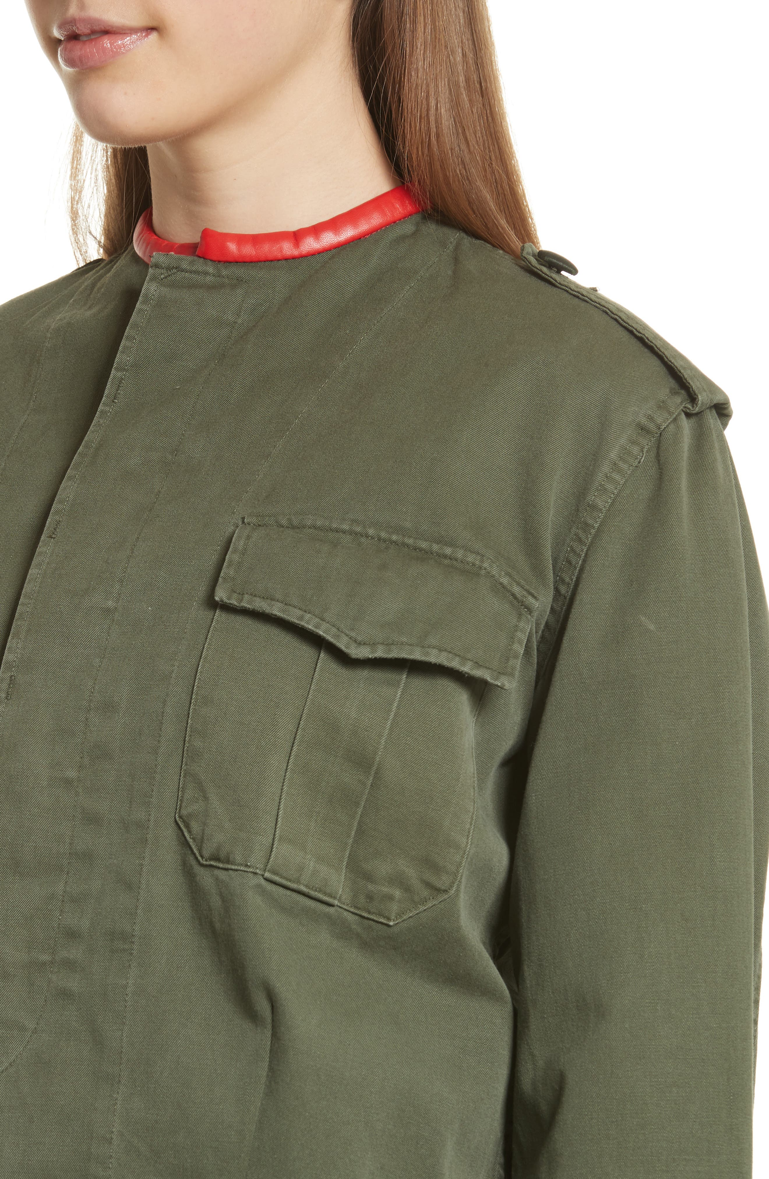 Leather Trim Crop Army Jacket,                             Alternate thumbnail 4, color,                             Olive