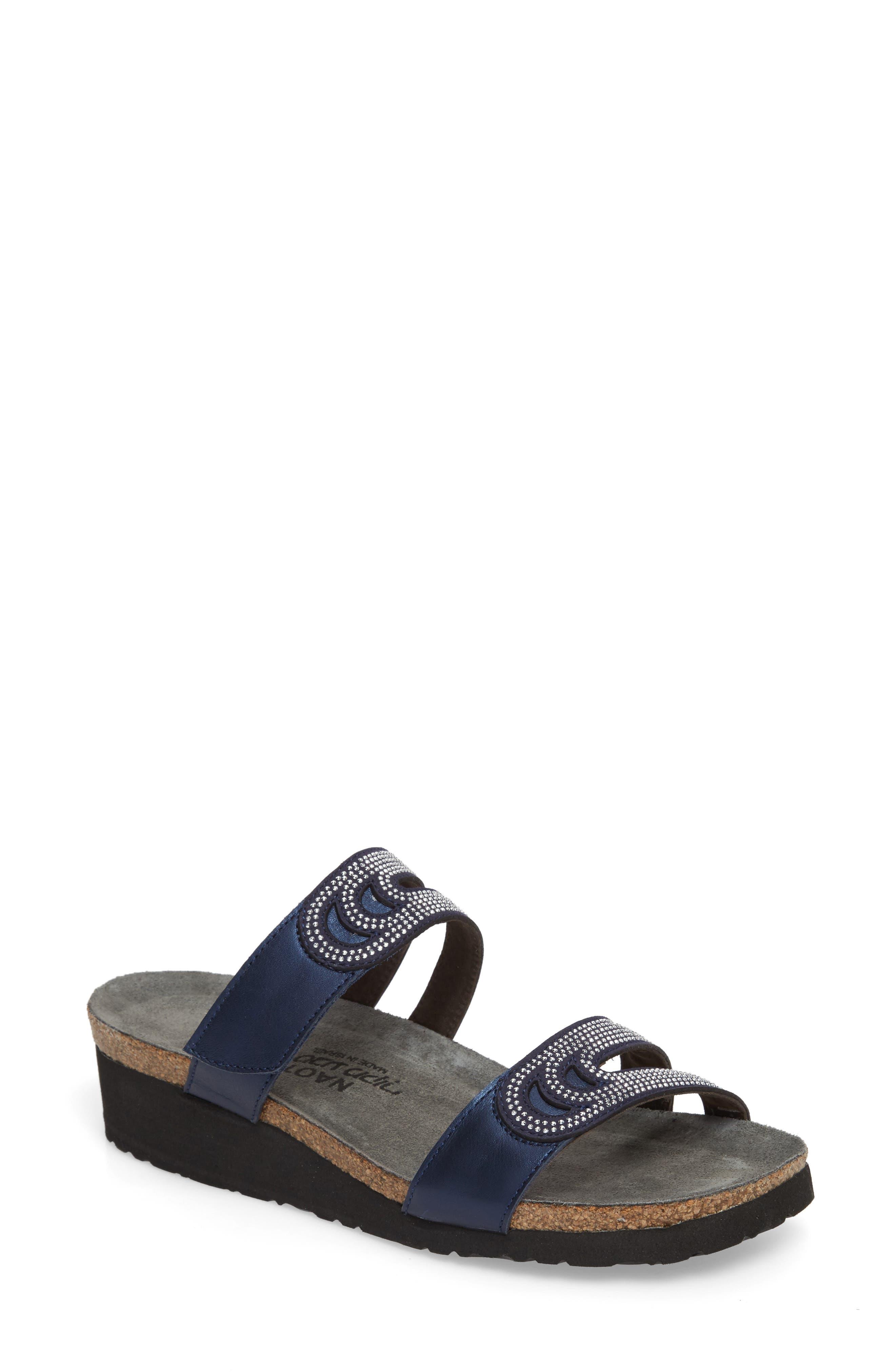 Ainsley Studded Slide Sandal,                             Main thumbnail 1, color,                             Polar Nubuck