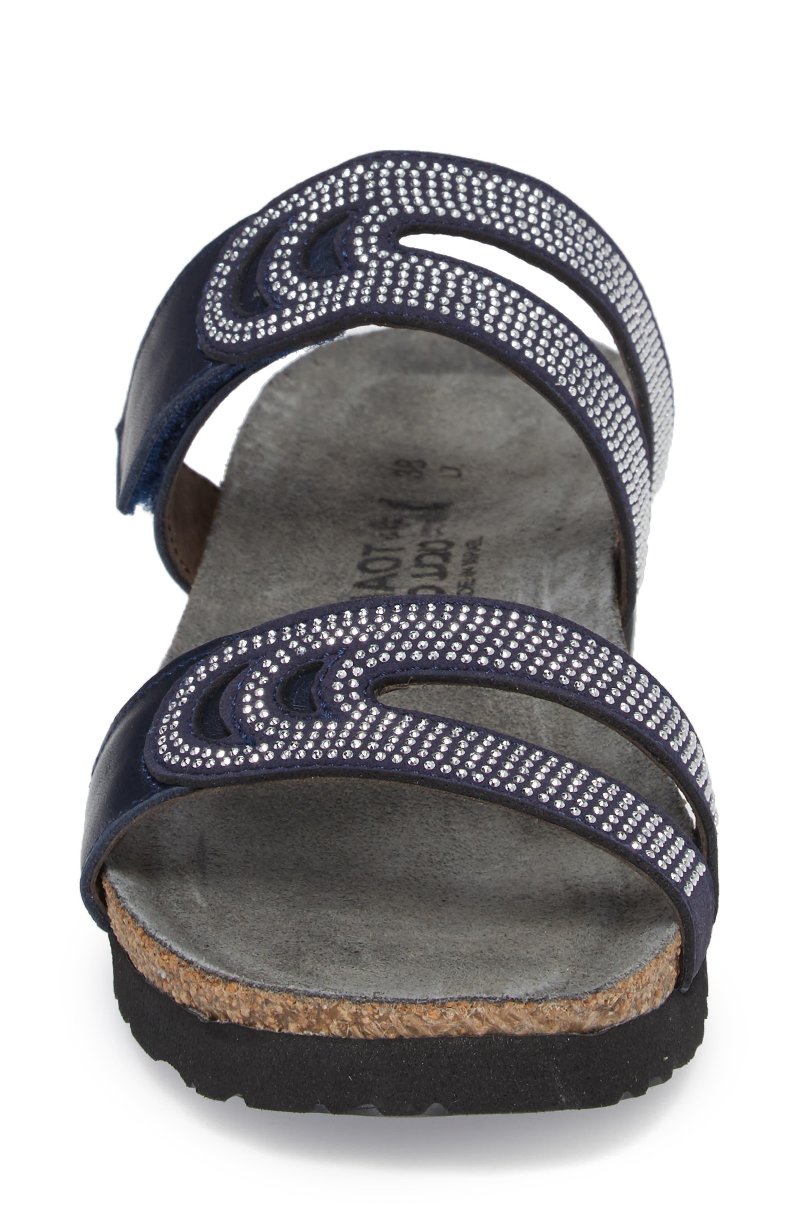 Ainsley Studded Slide Sandal,                             Alternate thumbnail 4, color,                             Polar Nubuck