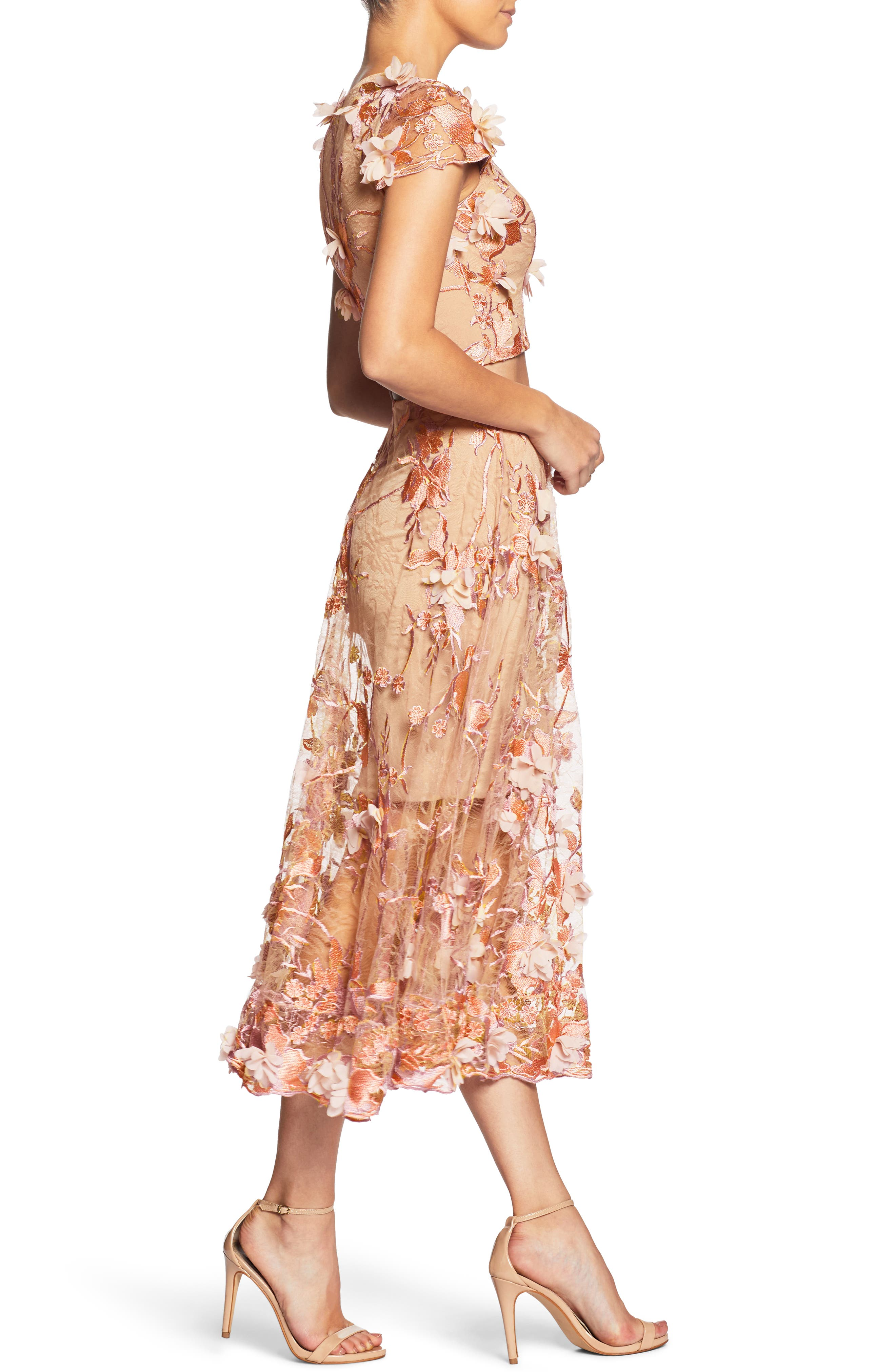 Juliana 3D Lace Two-Piece Dress,                             Alternate thumbnail 3, color,                             Peach