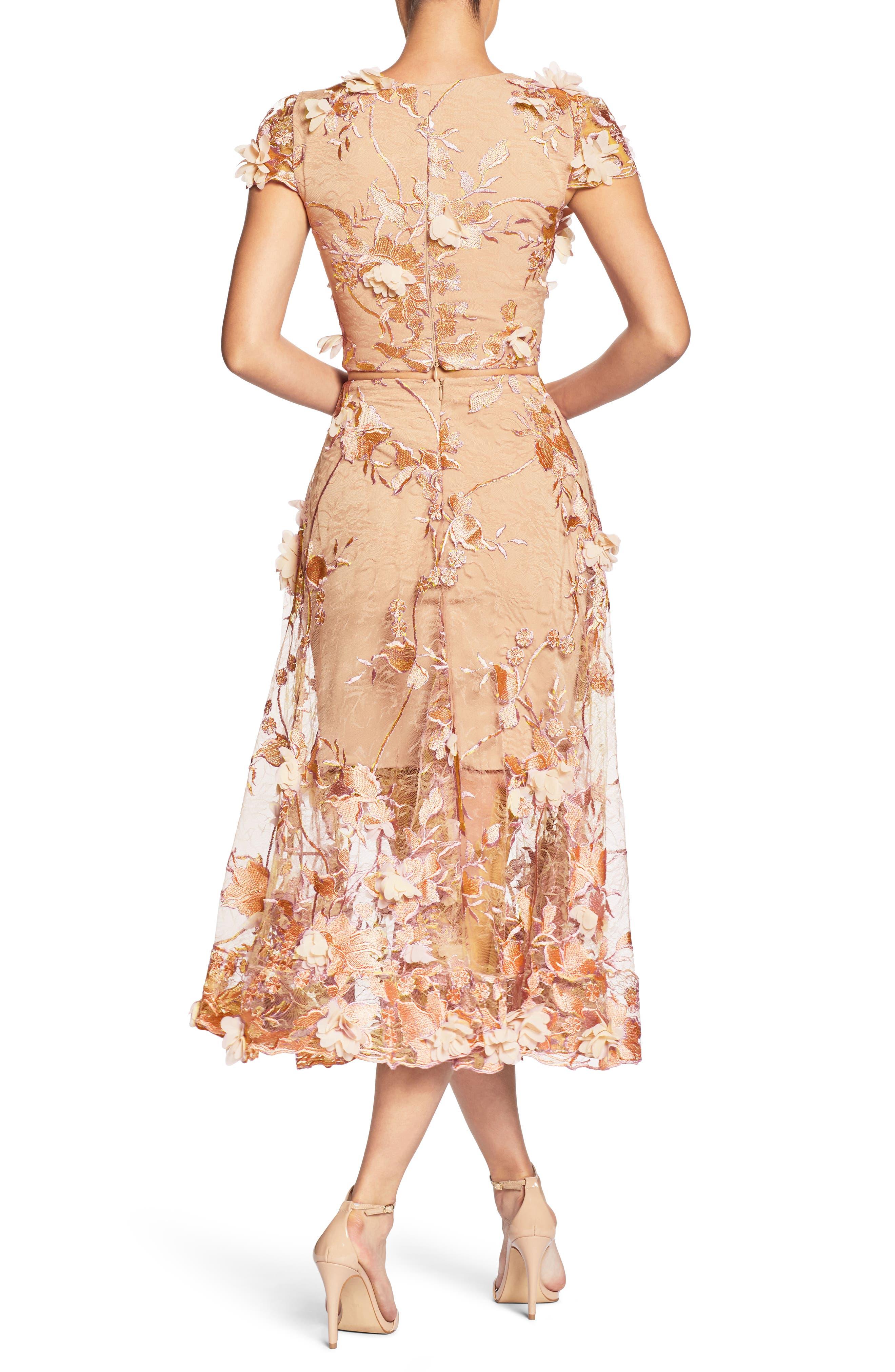 Juliana 3D Lace Two-Piece Dress,                             Alternate thumbnail 2, color,                             Peach