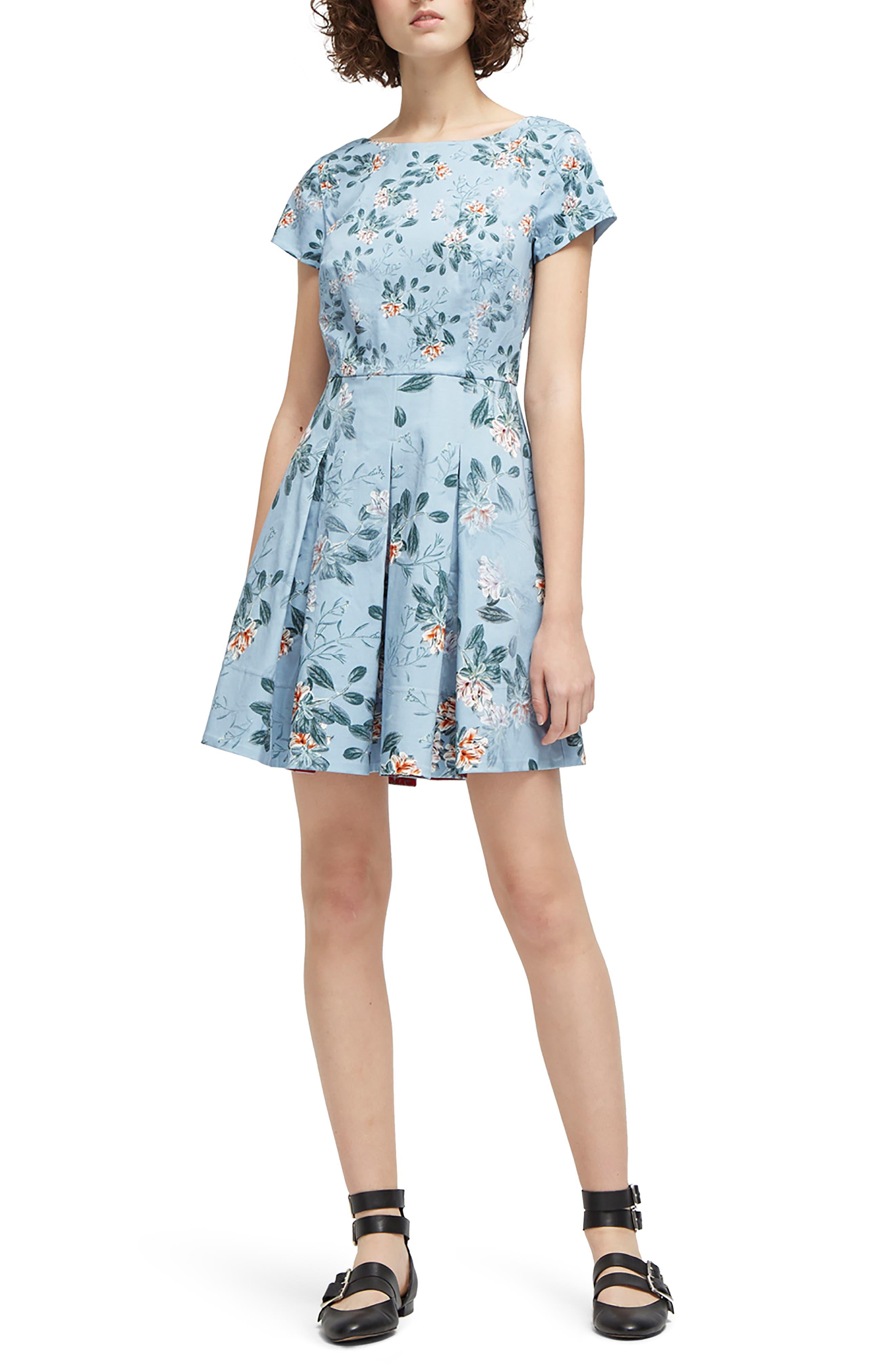 Kioa Fit & Flare Dress,                             Main thumbnail 1, color,                             Pavilion Blue Multi