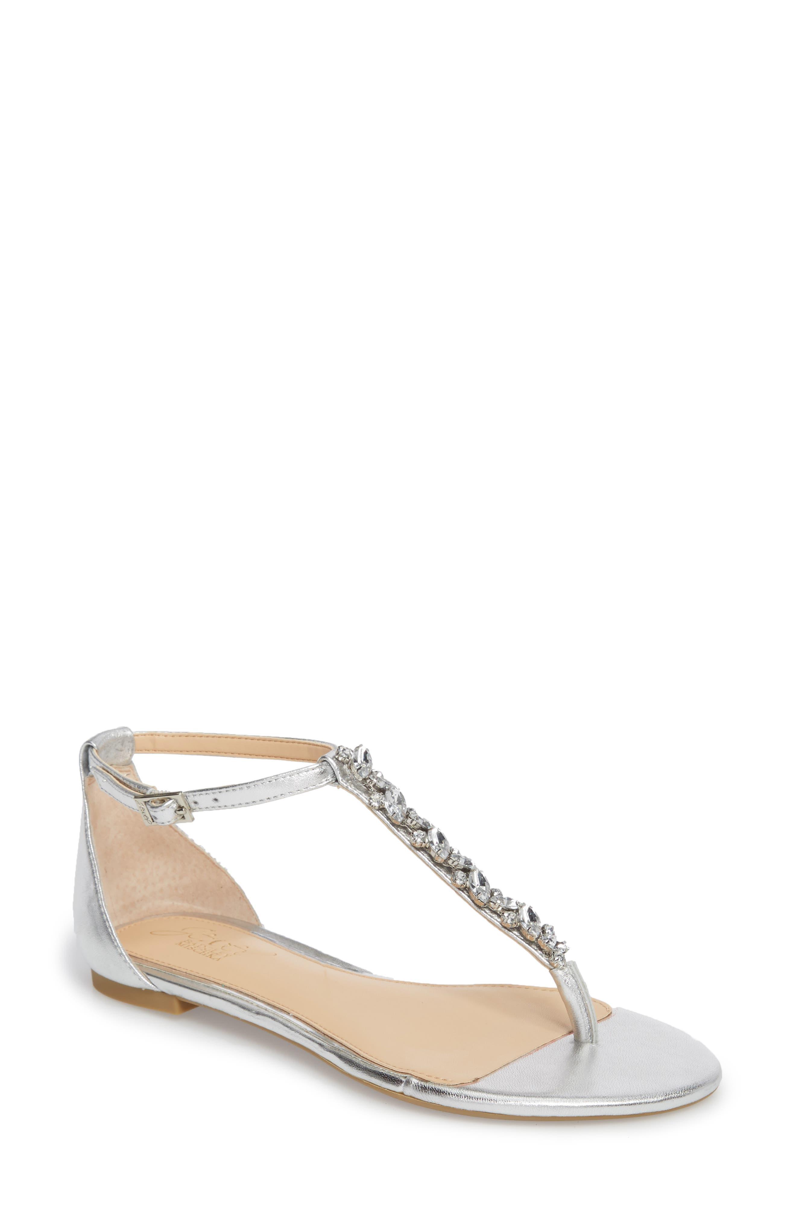 Jewel Badgley Mischka Carrol Embellished T-Strap Sandal (Women)