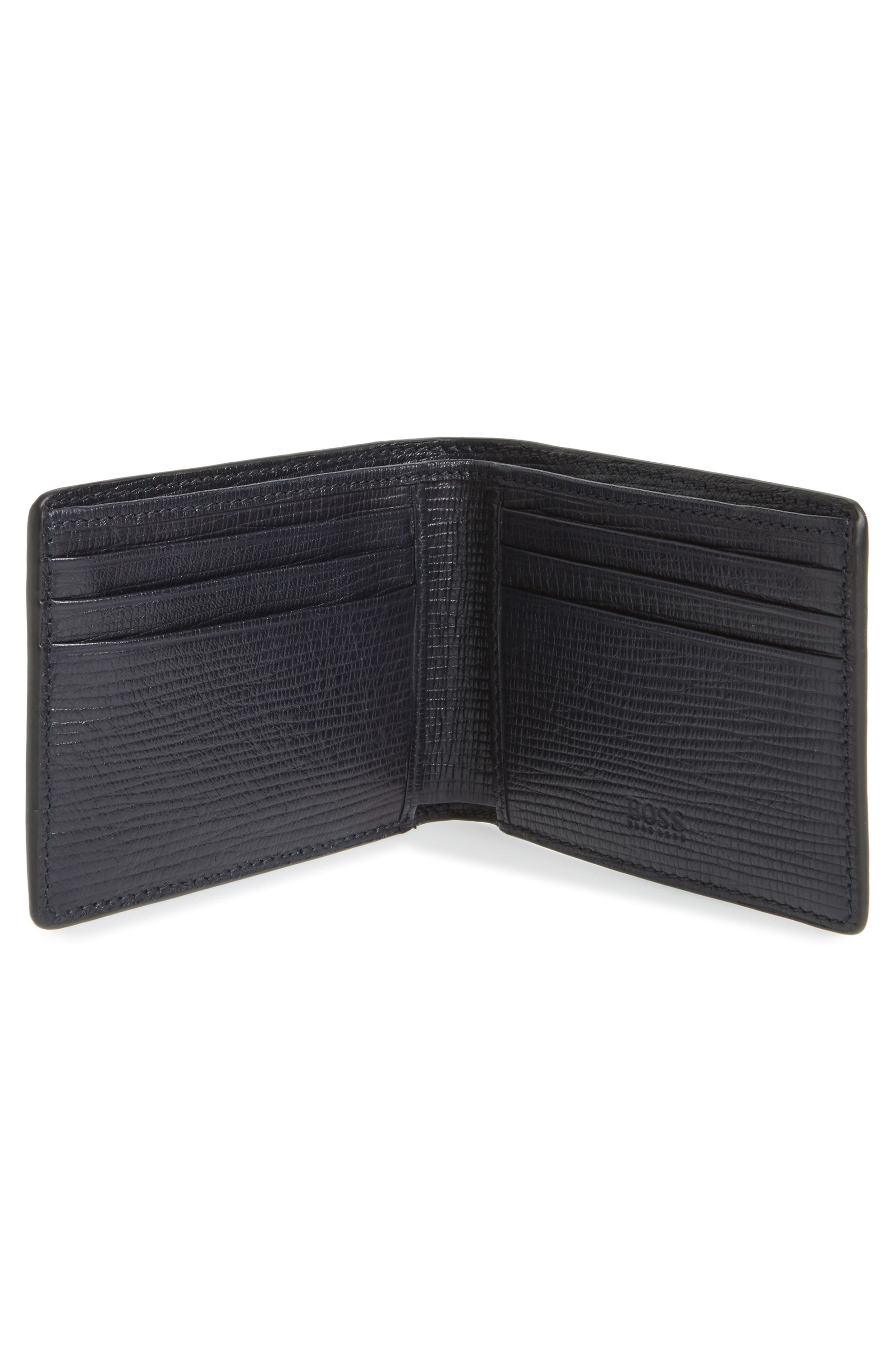 Timeless Leather Wallet,                             Alternate thumbnail 2, color,                             Navy