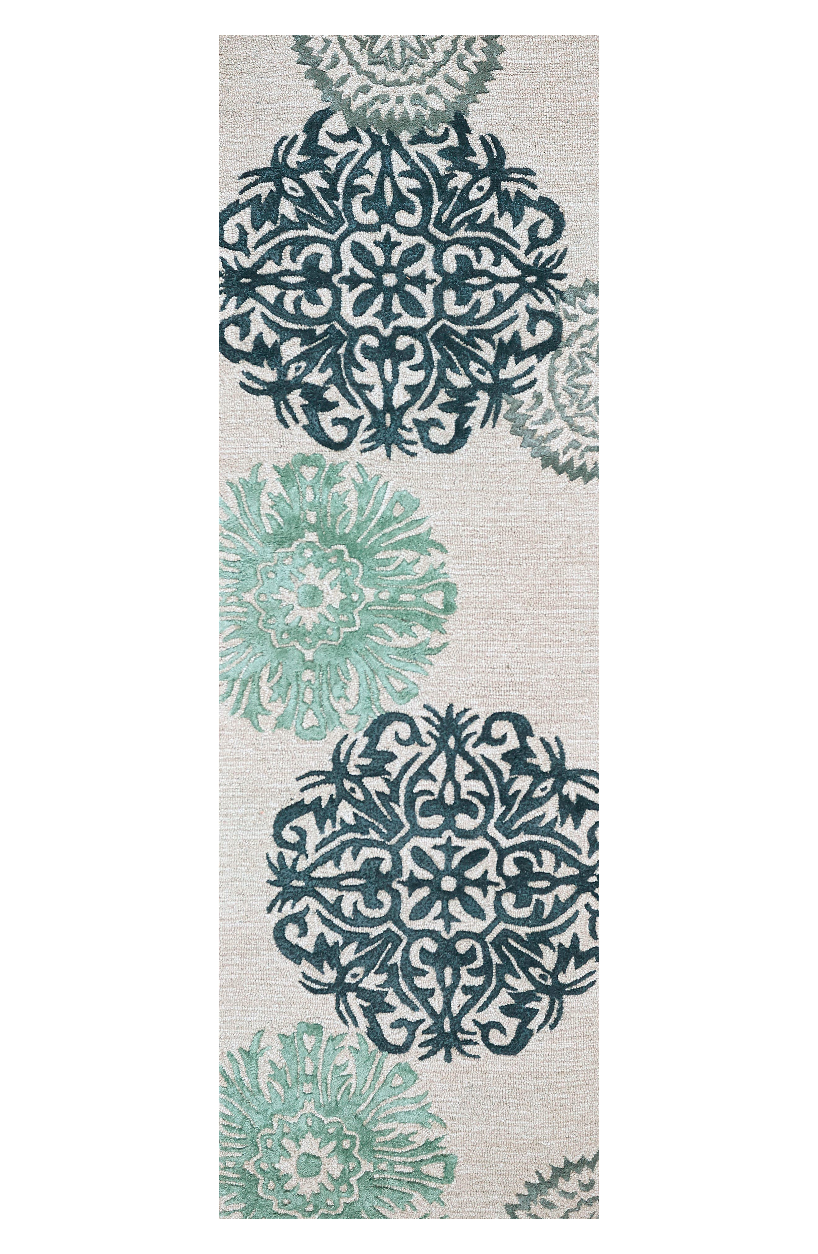 'Eden Harbor' Hand Tufted Wool Area Rug,                             Alternate thumbnail 2, color,                             Navy/ Aqua/ Grey