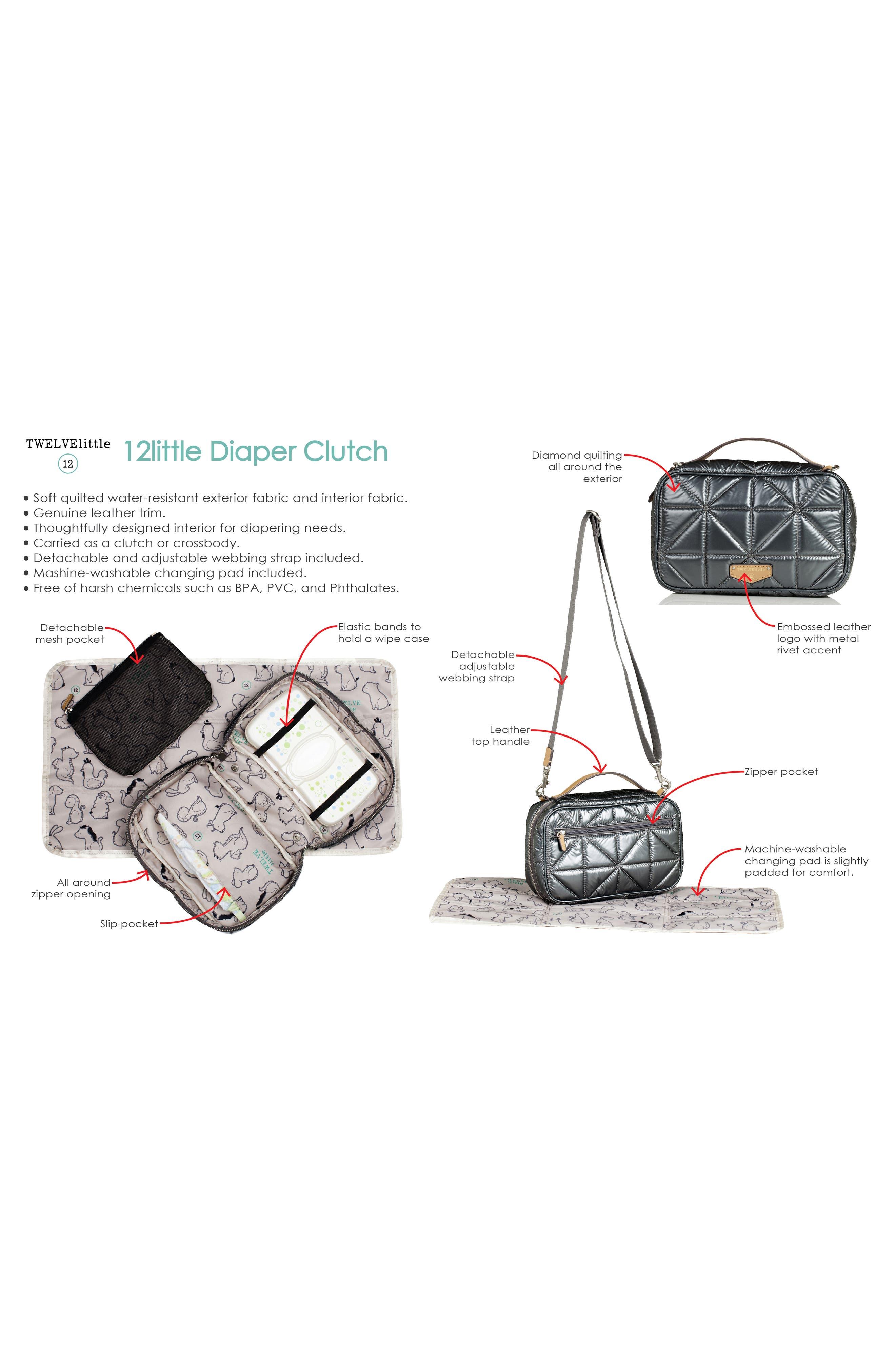 Water Resistant Nylon Diaper Clutch,                             Alternate thumbnail 3, color,                             Black