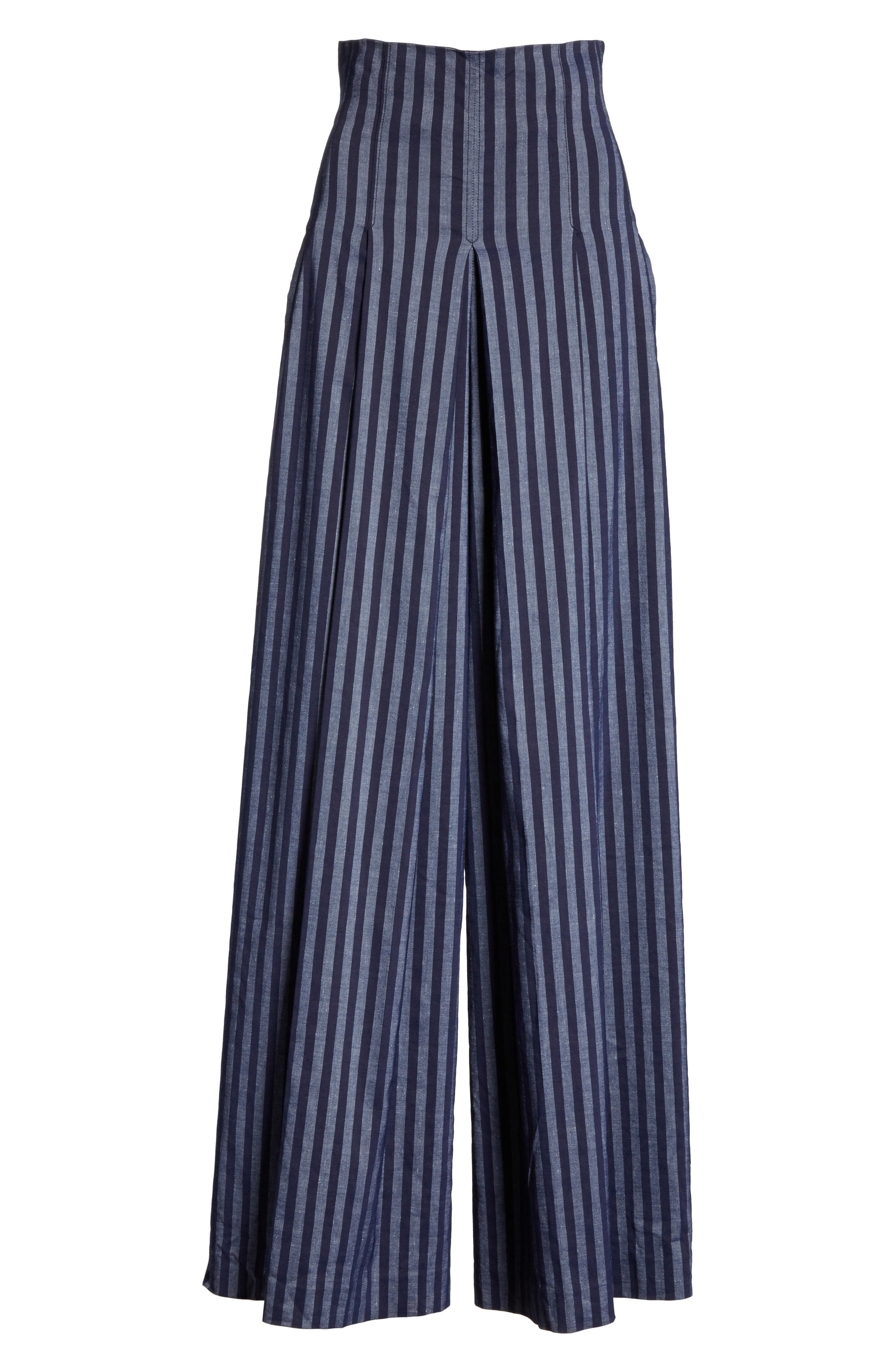 Stripe Wide Leg Pants,                             Alternate thumbnail 6, color,                             India Ink