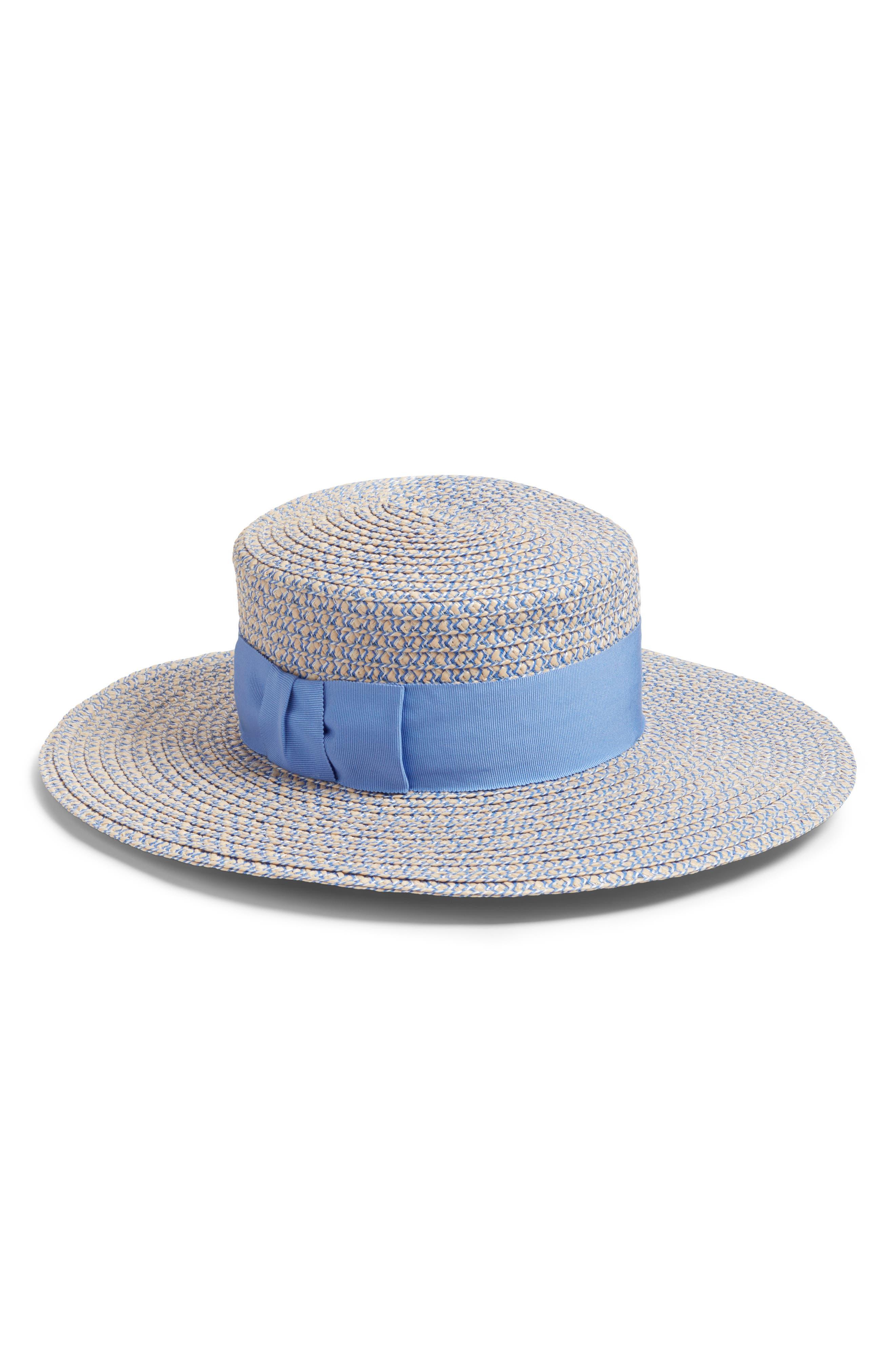 'Gondolier' Boater Hat,                         Main,                         color, Cream/ Blue Tweed