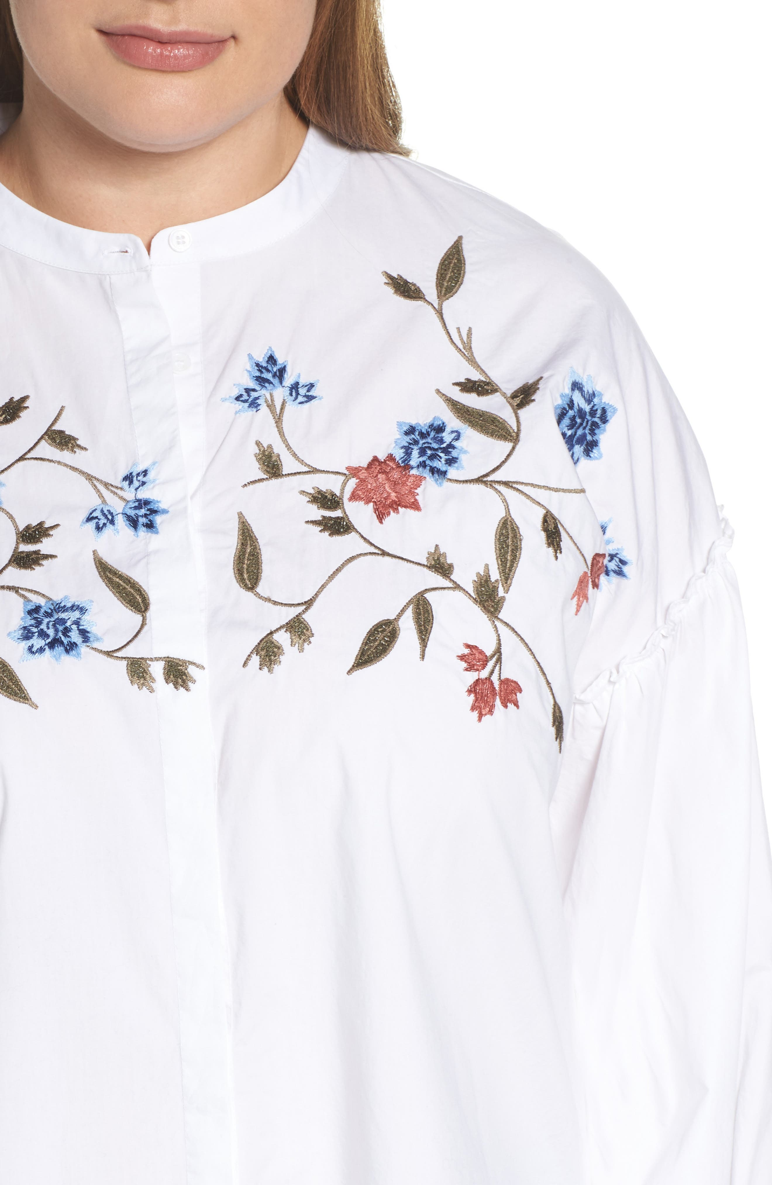 Embroidered Bubble Sleeve Blouse,                             Alternate thumbnail 4, color,                             Ultra White