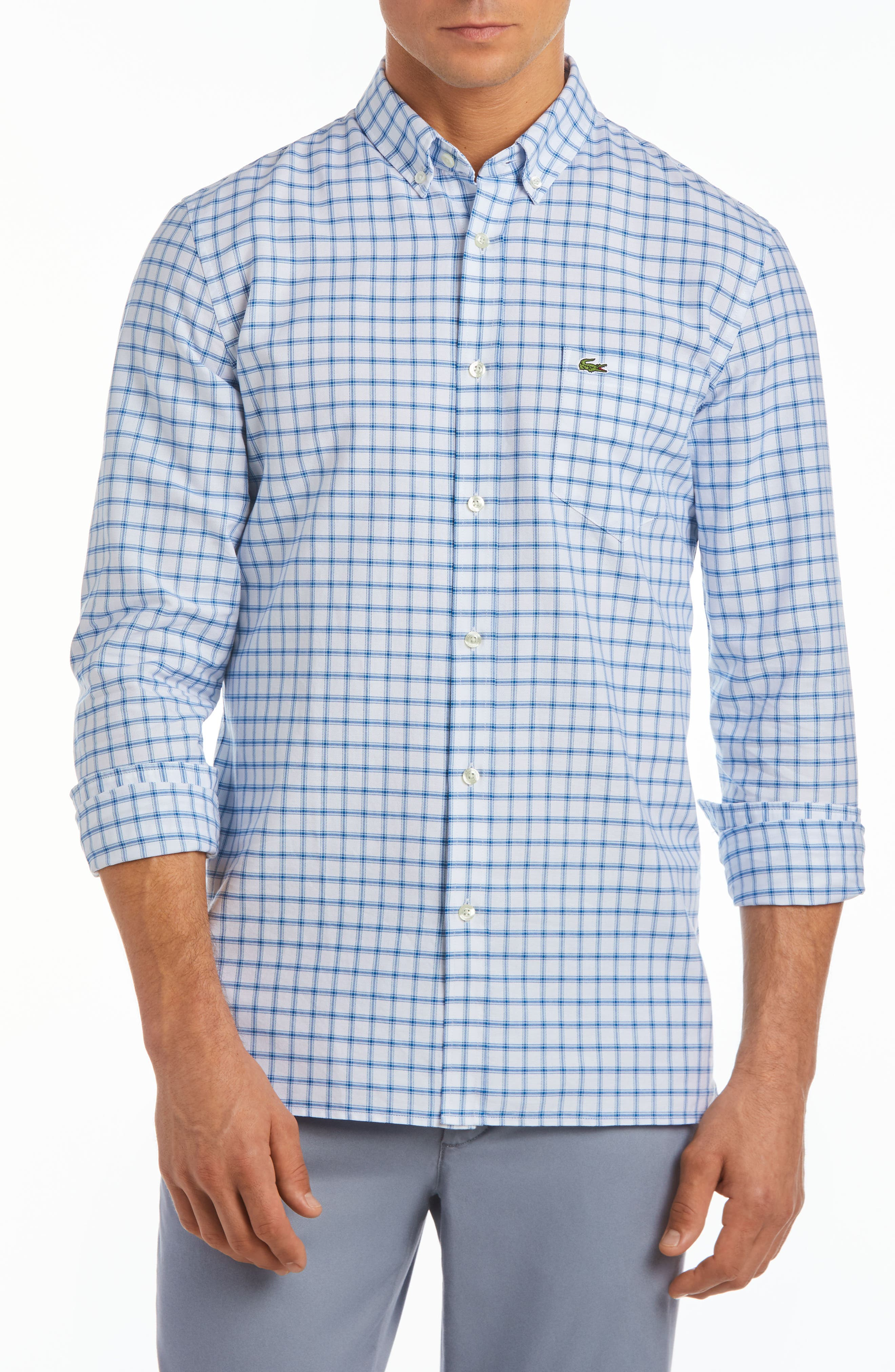 Slim Fit Grid Cotton Sport Shirt,                         Main,                         color, Rill/ White