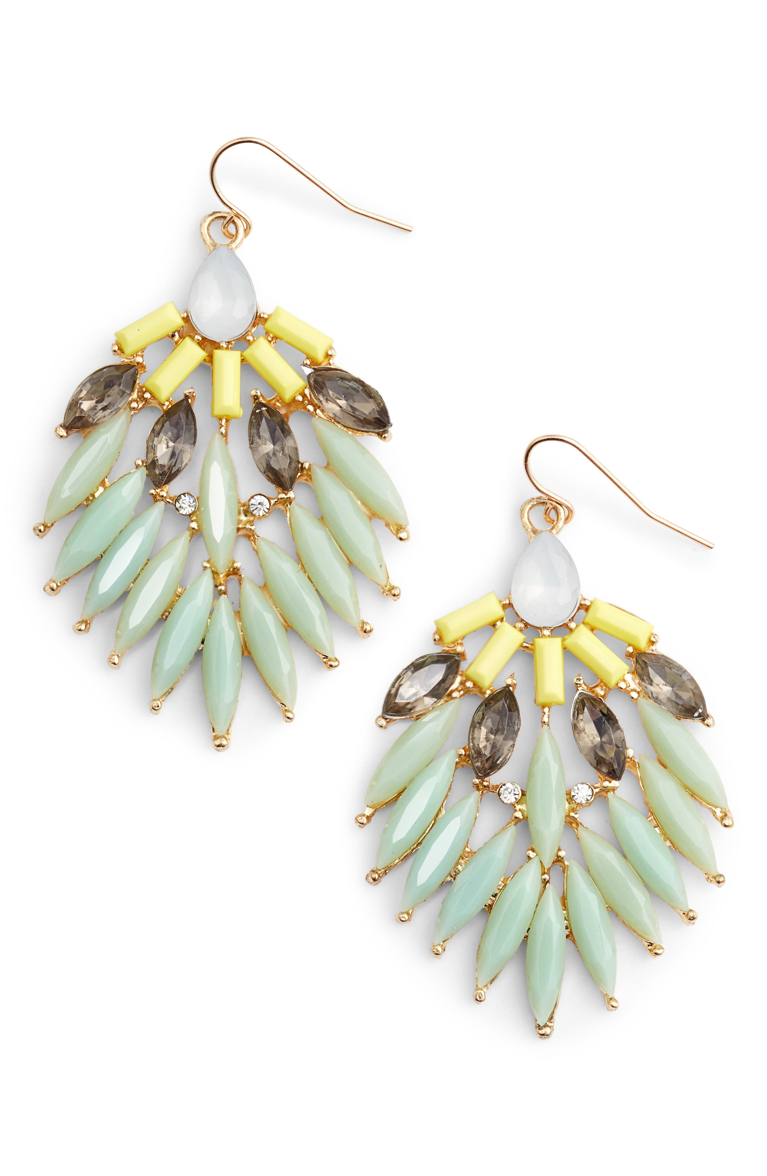 Stone Fan Earrings,                         Main,                         color, Mint