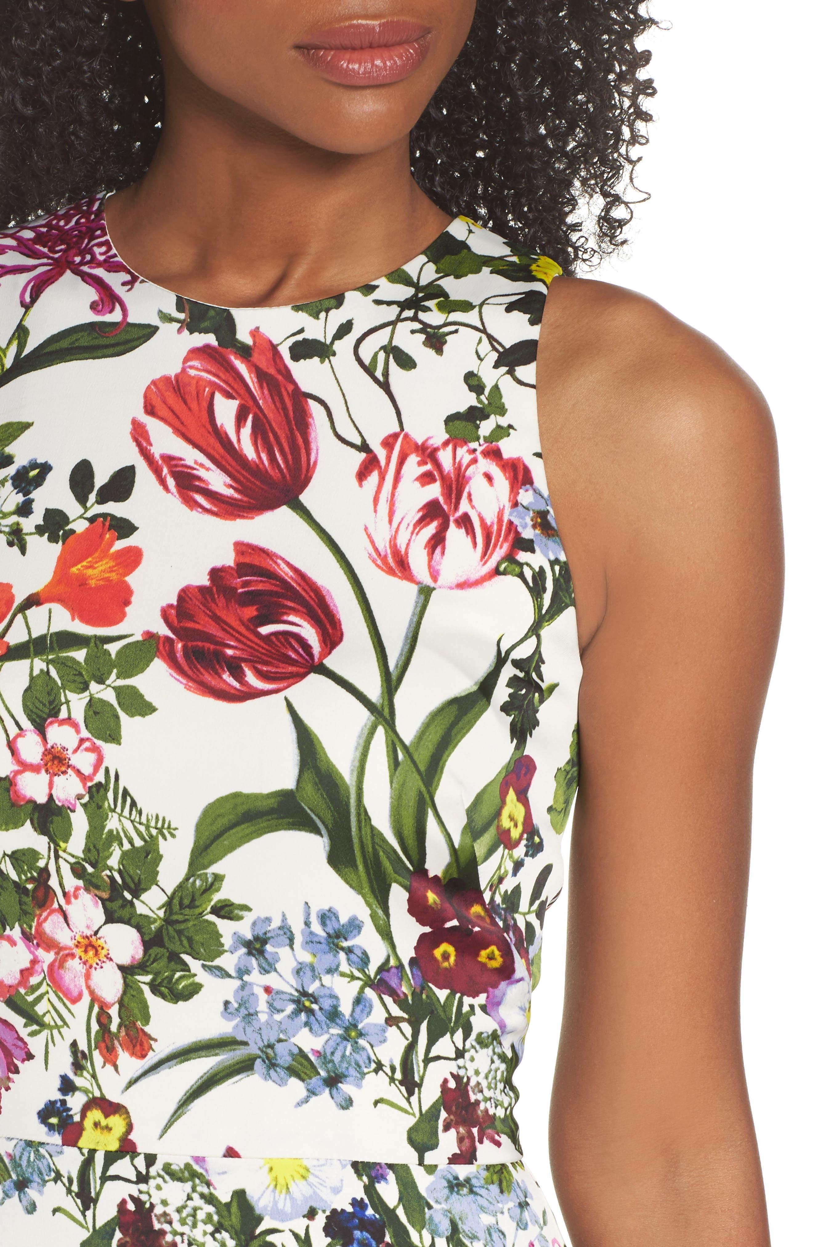 Botanical Print Charmeuse Midi Dress,                             Alternate thumbnail 5, color,                             Soft White/ Multi