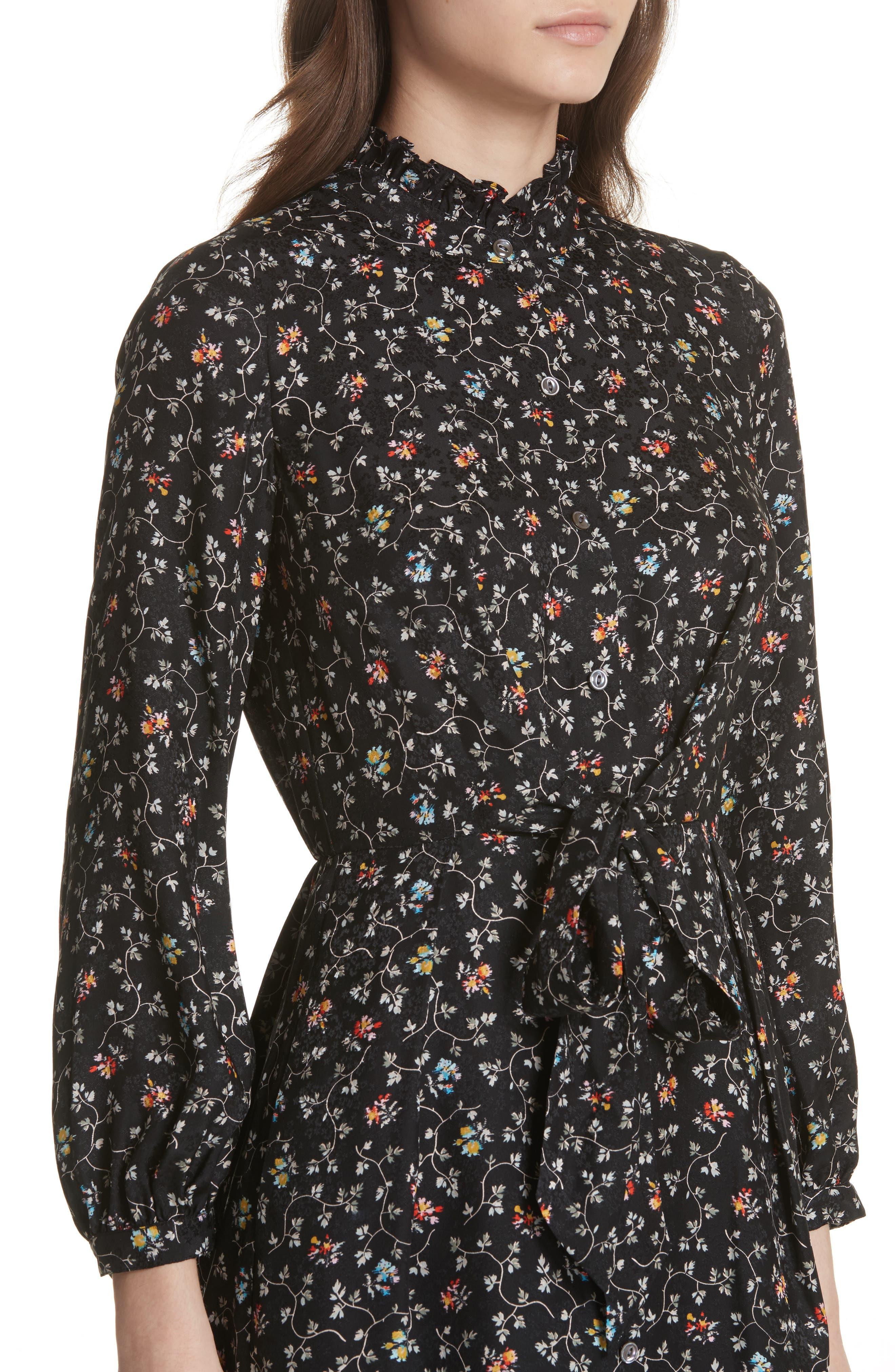 Floral Vine Silk Shirtdress,                             Alternate thumbnail 4, color,                             Black Vine Print