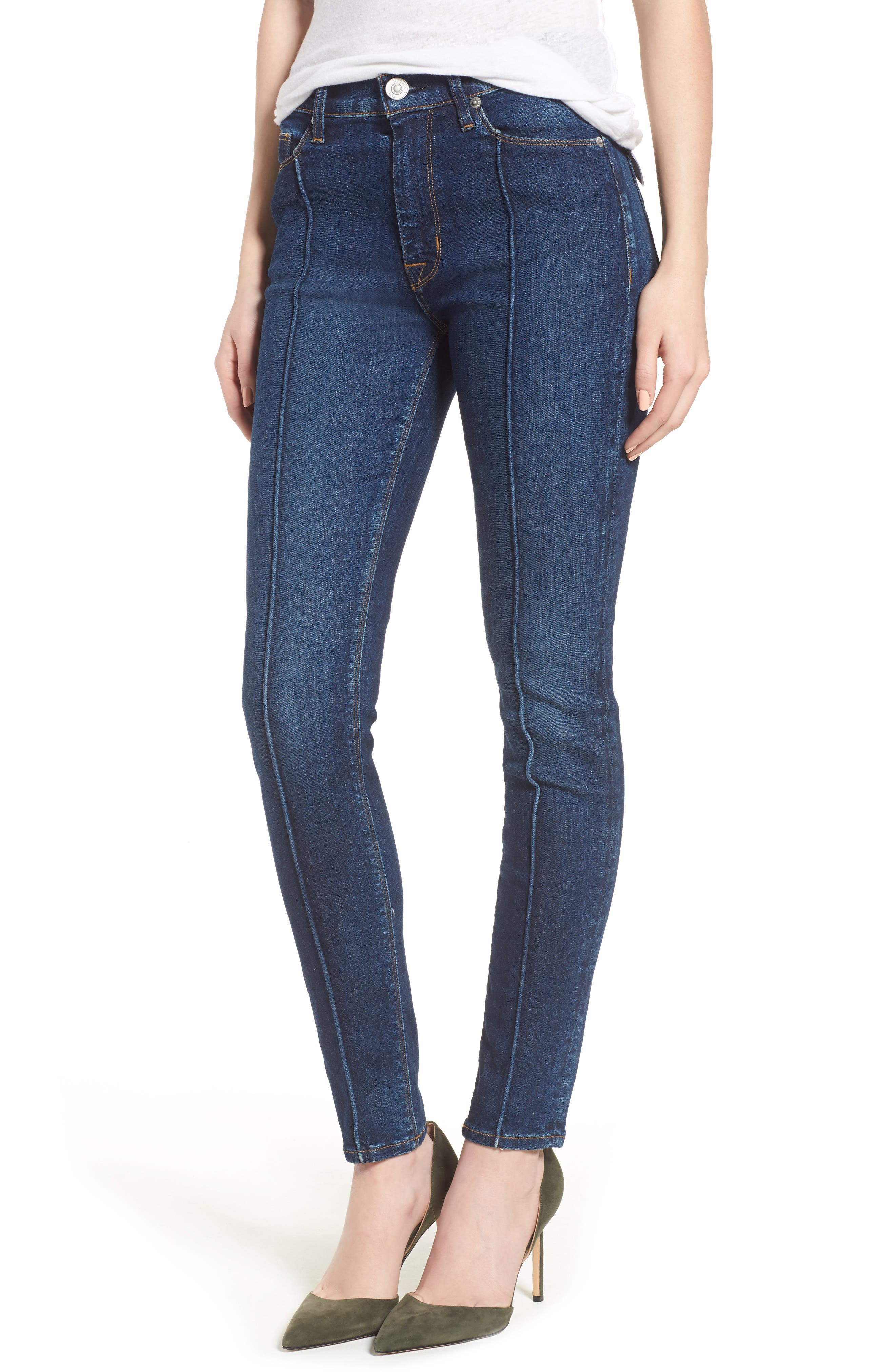 Main Image - Hudson Jeans Barbara Pintuck Super Skinny Jeans (Electra)