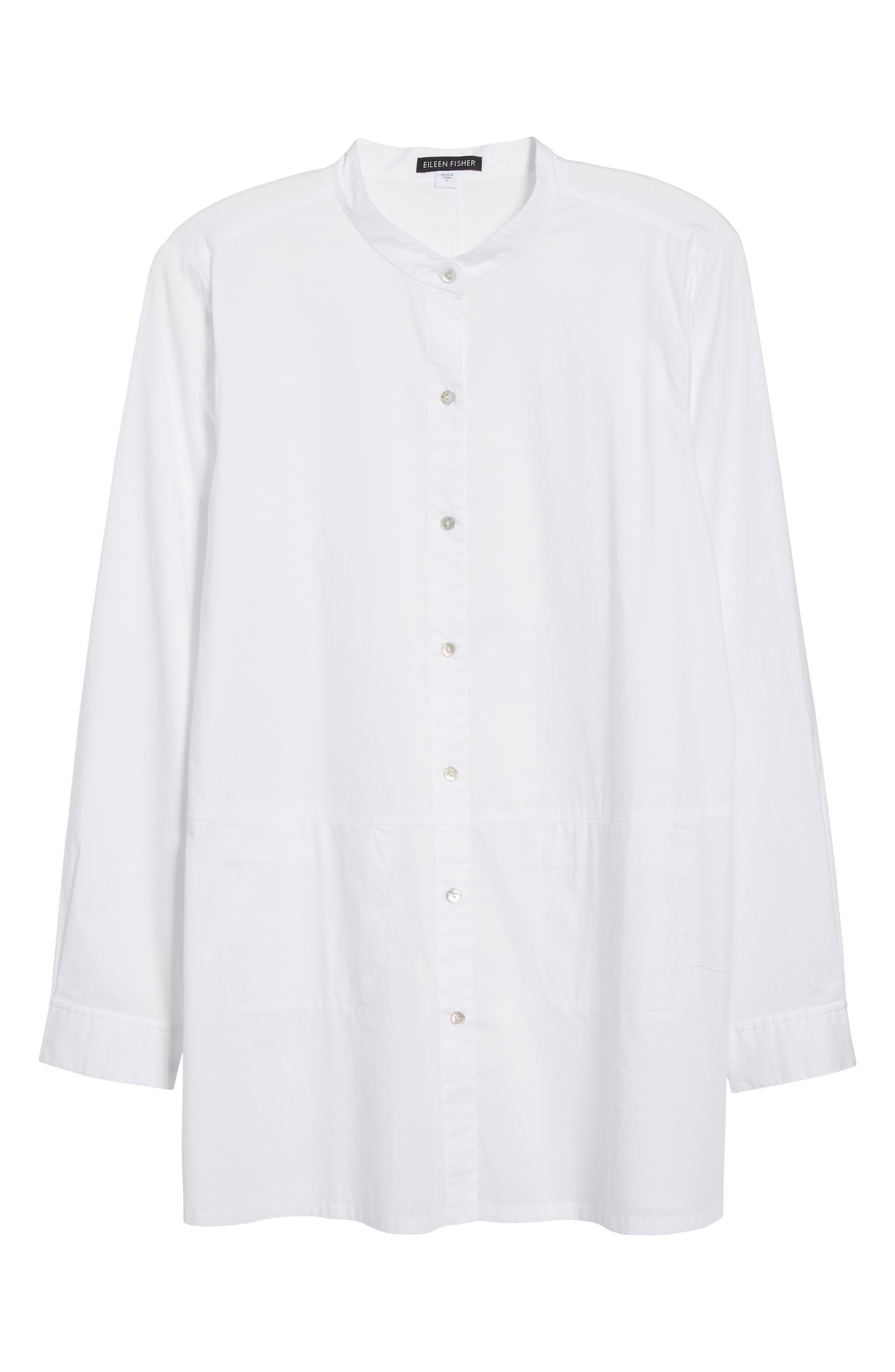 Stretch Organic Cotton Shirt,                             Alternate thumbnail 6, color,                             White
