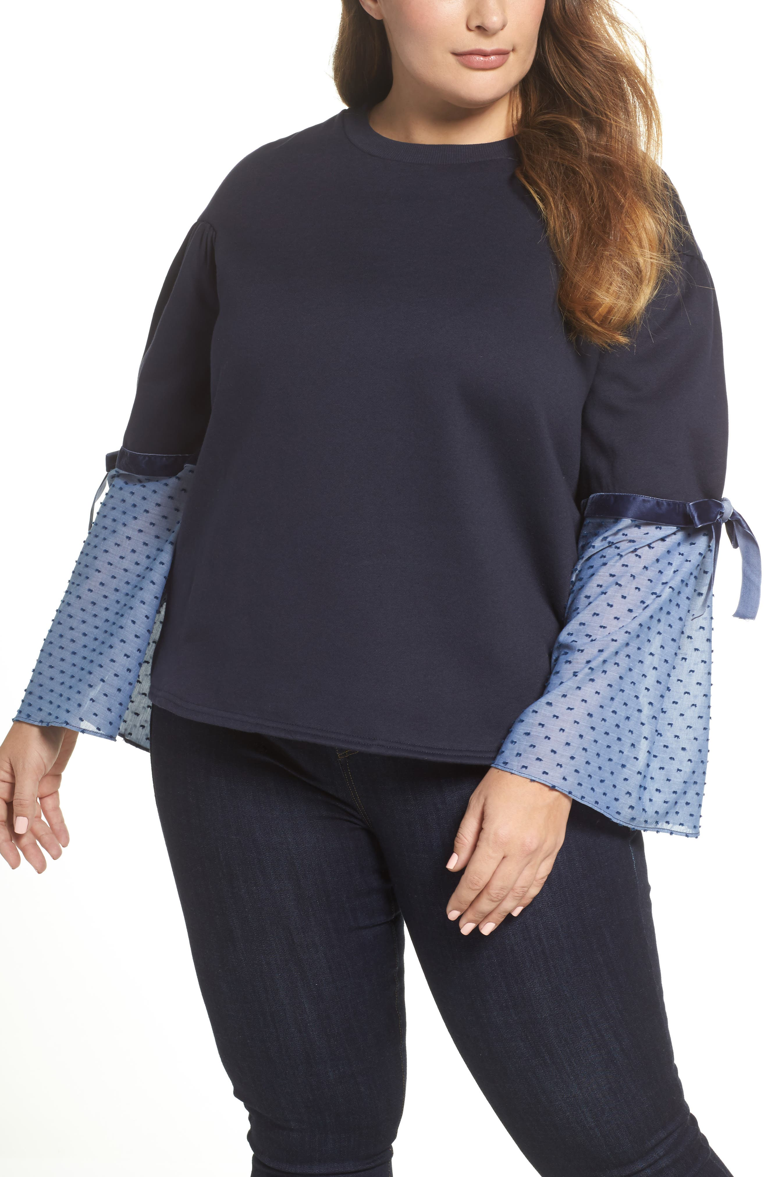 Sweatshirt with Woven Tie Sleeves,                         Main,                         color, Navy