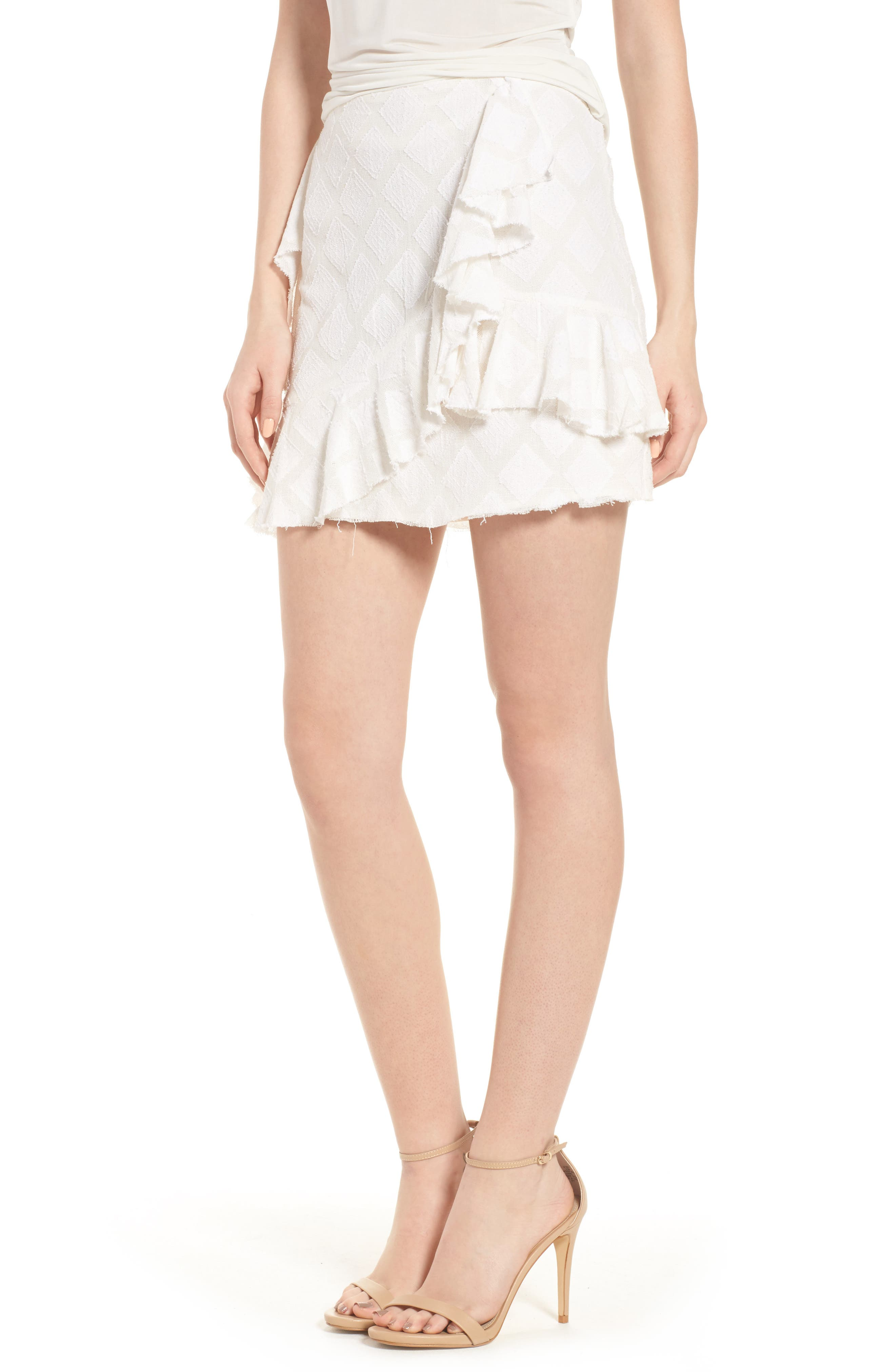 Hannah Ruffle Skirt,                             Main thumbnail 1, color,                             Ivory