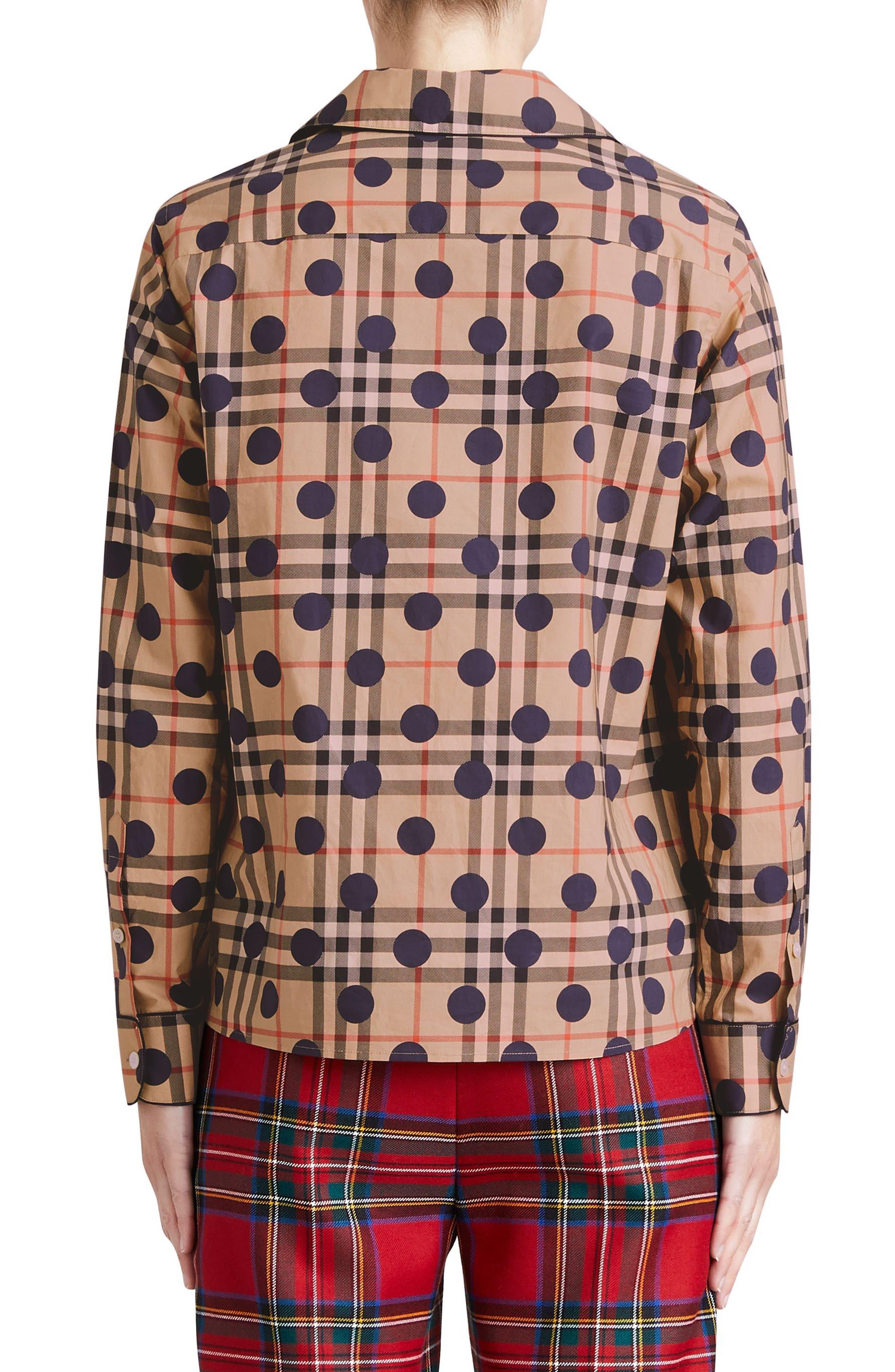 Polka Dot Check Print Cotton Shirt,                             Alternate thumbnail 2, color,                             Camel Multi