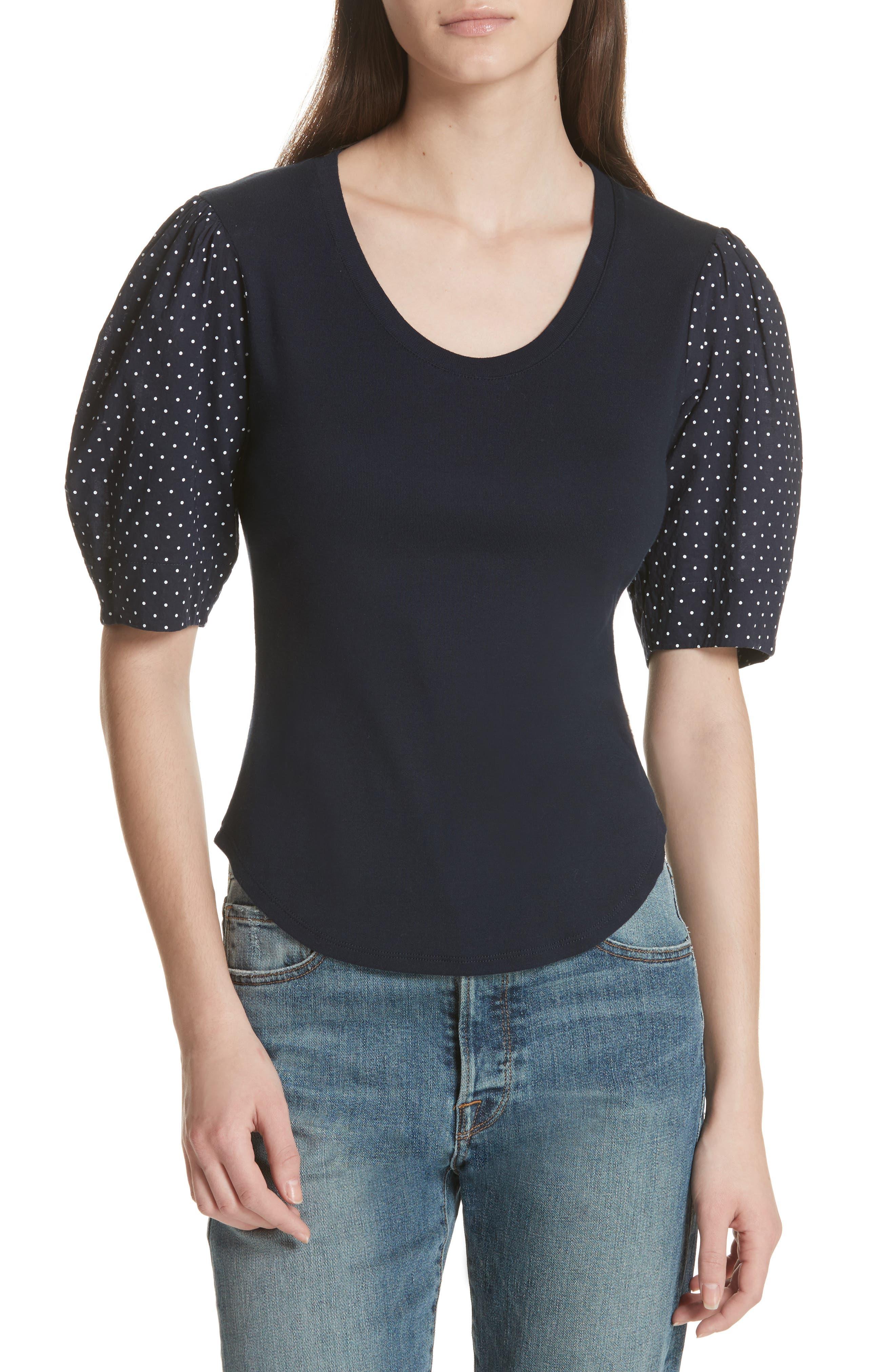 Dahlia Dot Sleeve Top,                         Main,                         color, Midnight Navy