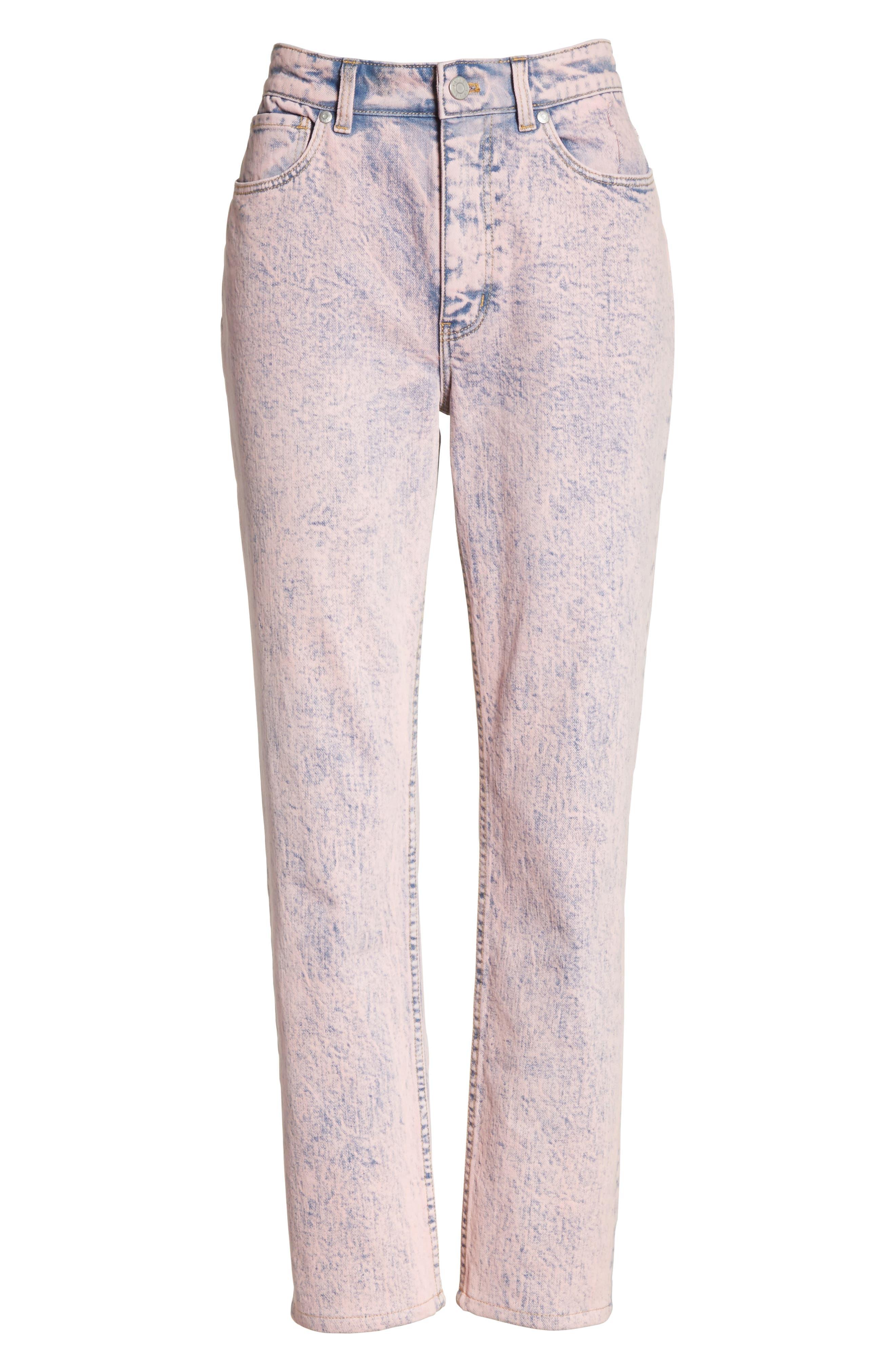 Ines Acid Wash Crop Jeans,                             Alternate thumbnail 6, color,                             Pink Overdyed Acid Wash