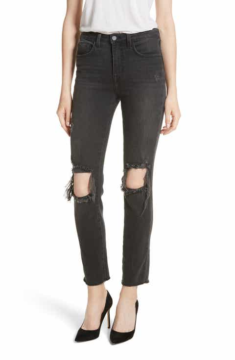 L'AGENCE Audrina Ripped Straight Leg Jeans (Vintage Black Worn Destruct)