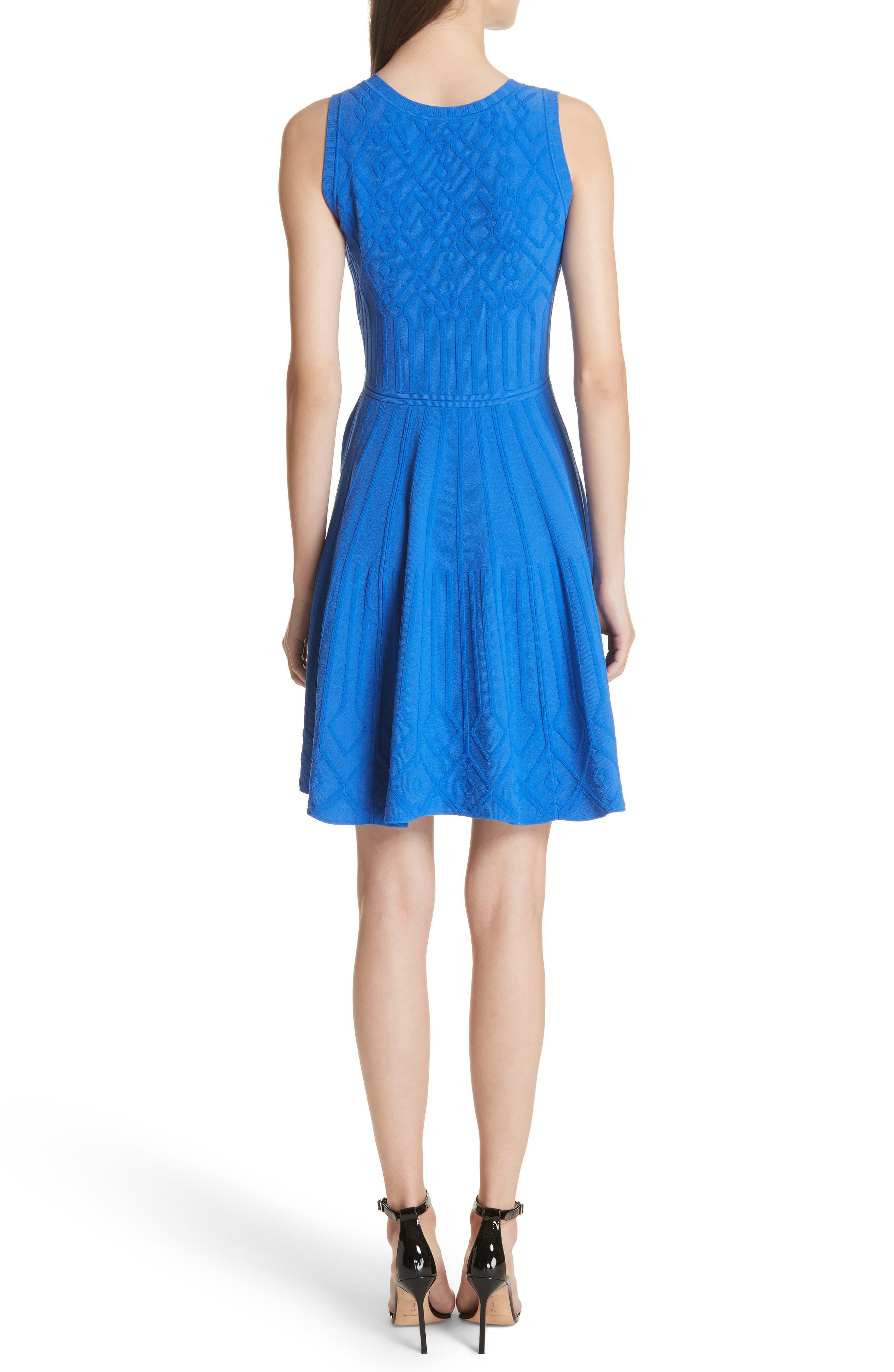 Mosaic Texture Knit Fit & Flare Dress,                             Alternate thumbnail 2, color,                             Blueberry