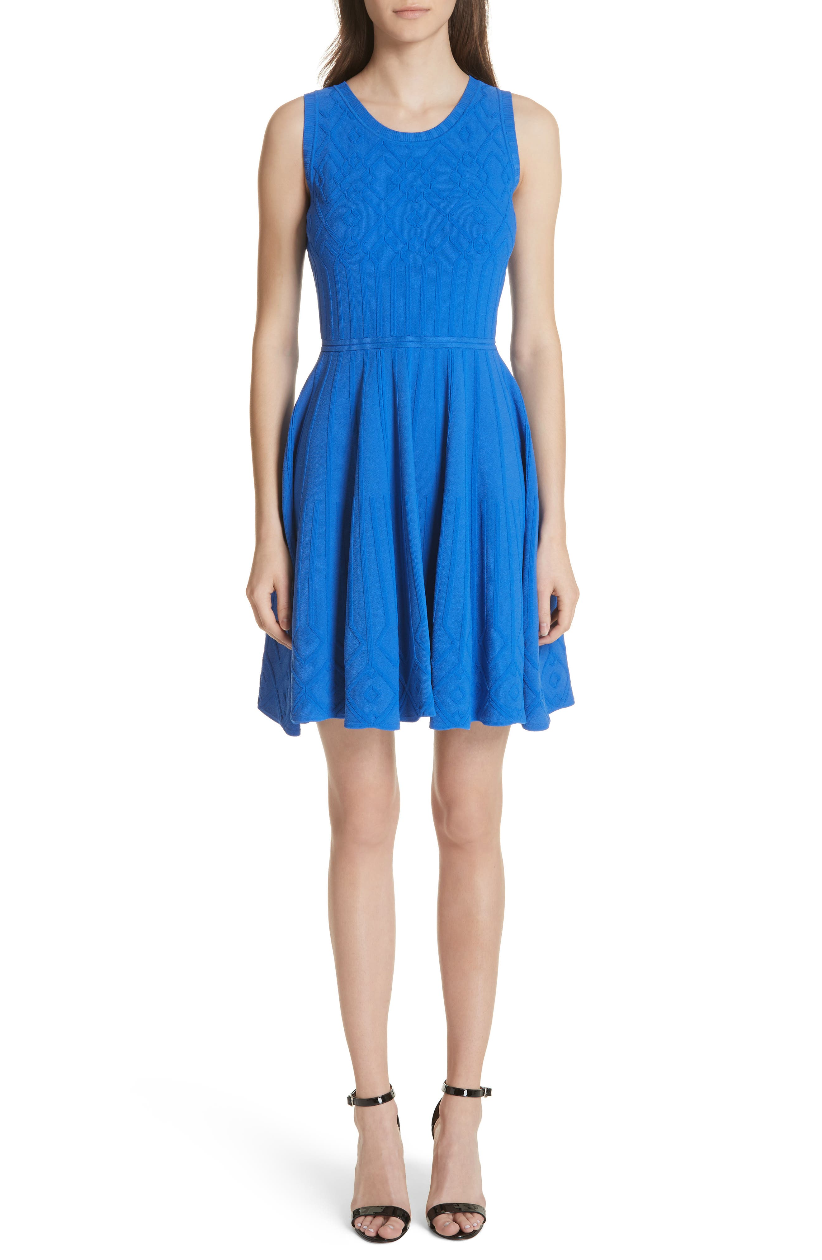 Mosaic Texture Knit Fit & Flare Dress,                         Main,                         color, Blueberry