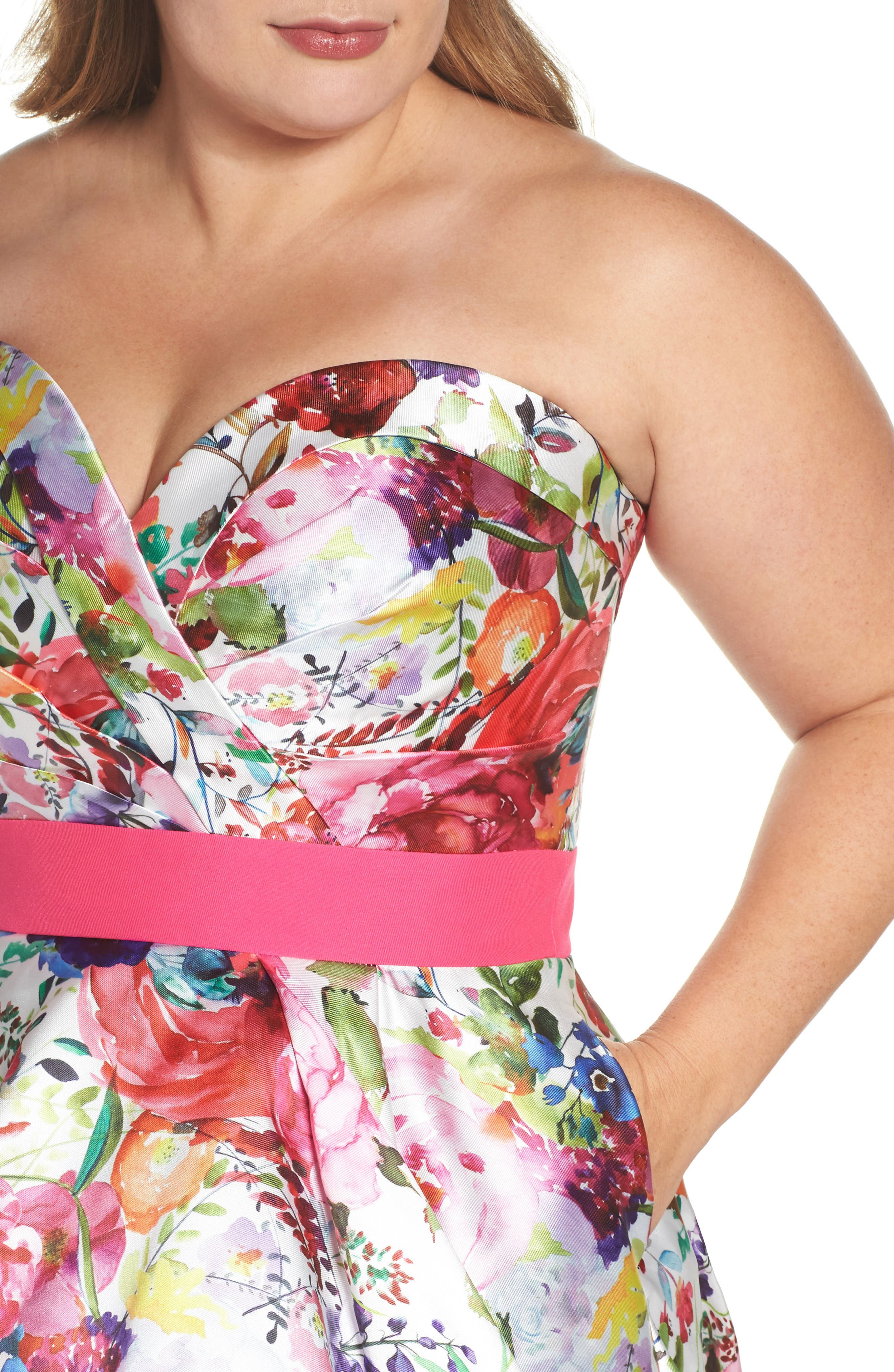 Floral Strapless Sweetheart High/Low Gown,                             Alternate thumbnail 4, color,                             Ivory Multi