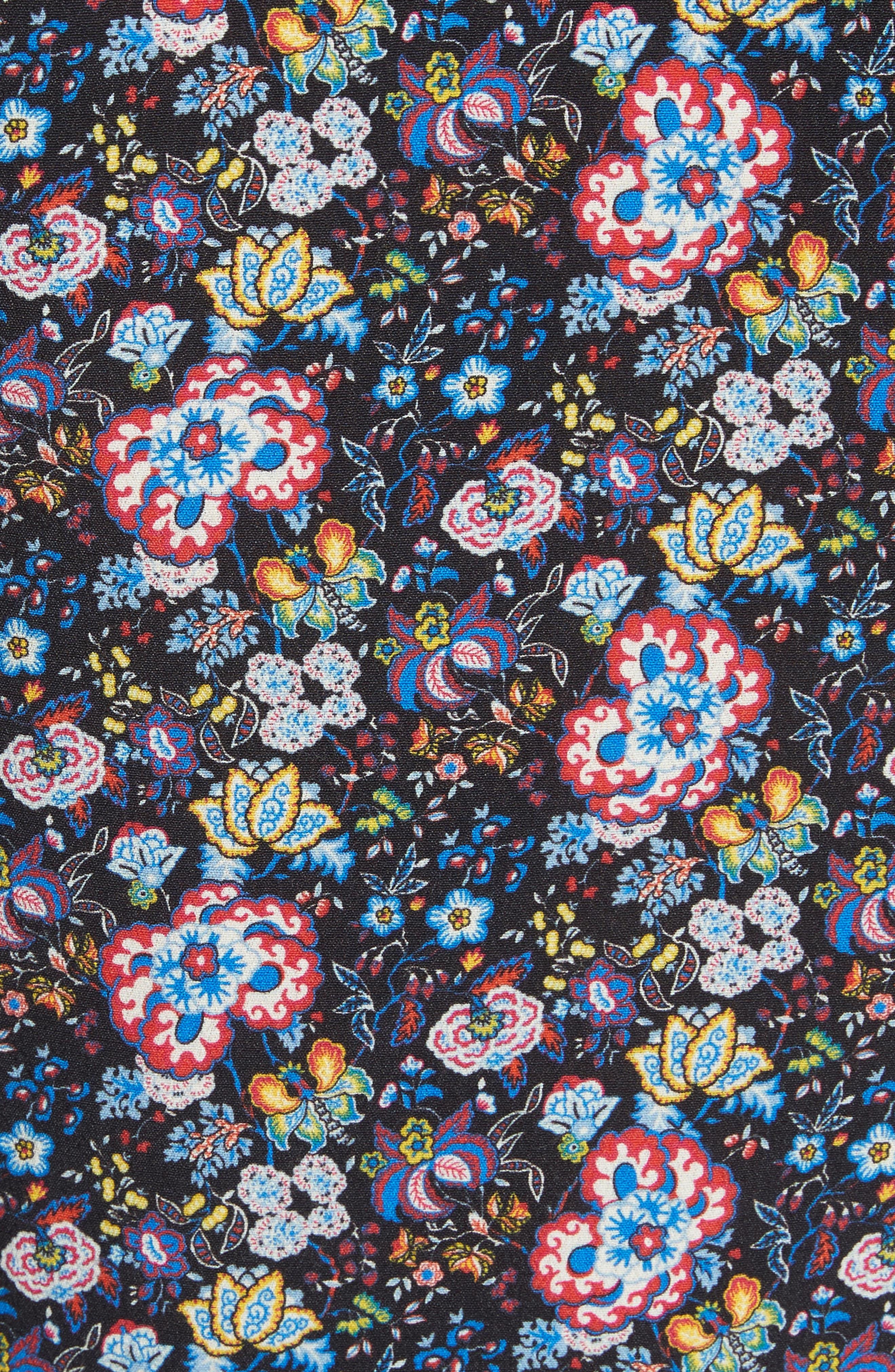 Floral Print One-Shoulder Top,                             Alternate thumbnail 8, color,                             Coastal Blue Multi