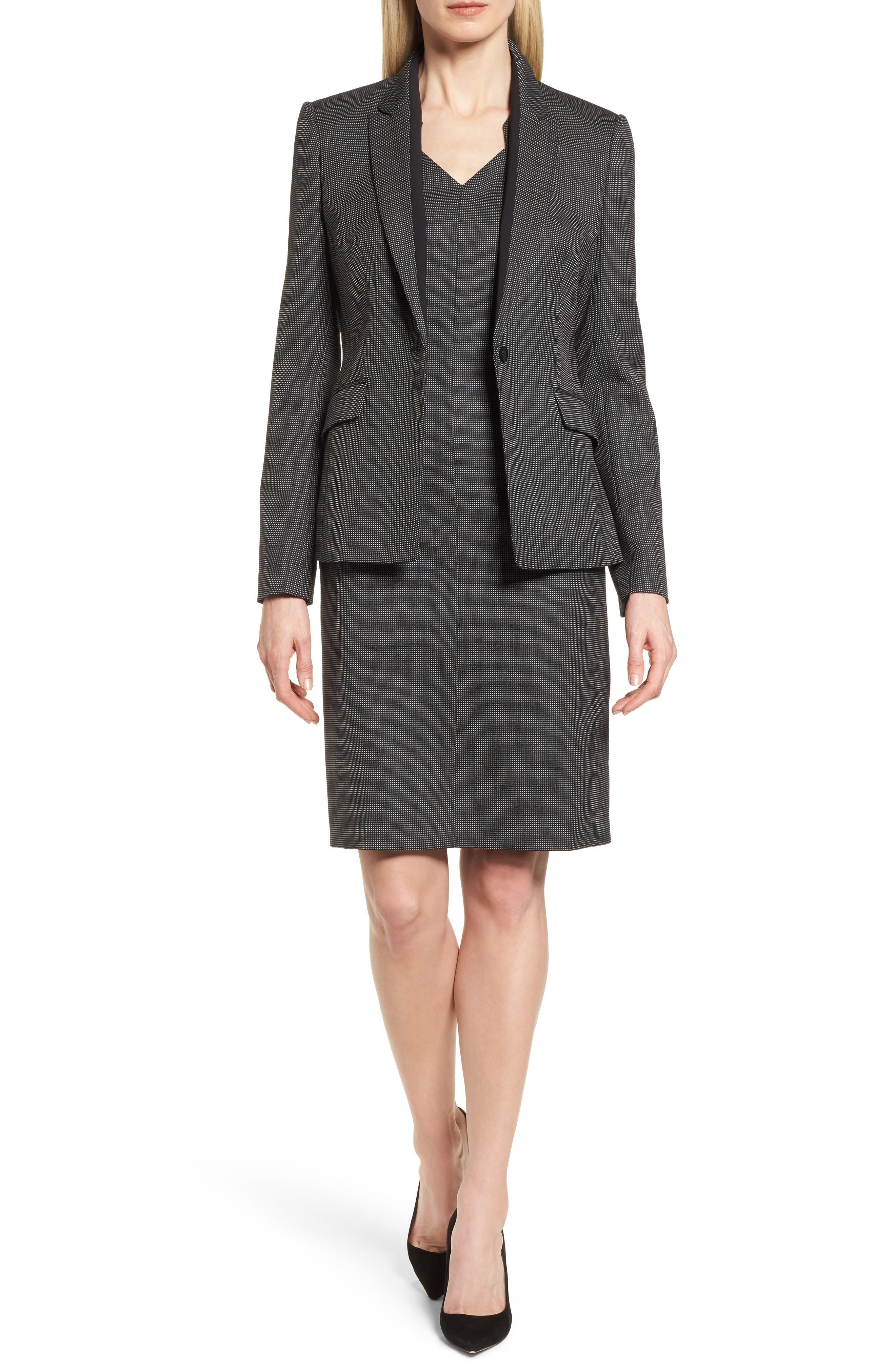 Jeresa Check Stretch Wool Suit Jacket,                             Alternate thumbnail 7, color,                             Black Fantasy
