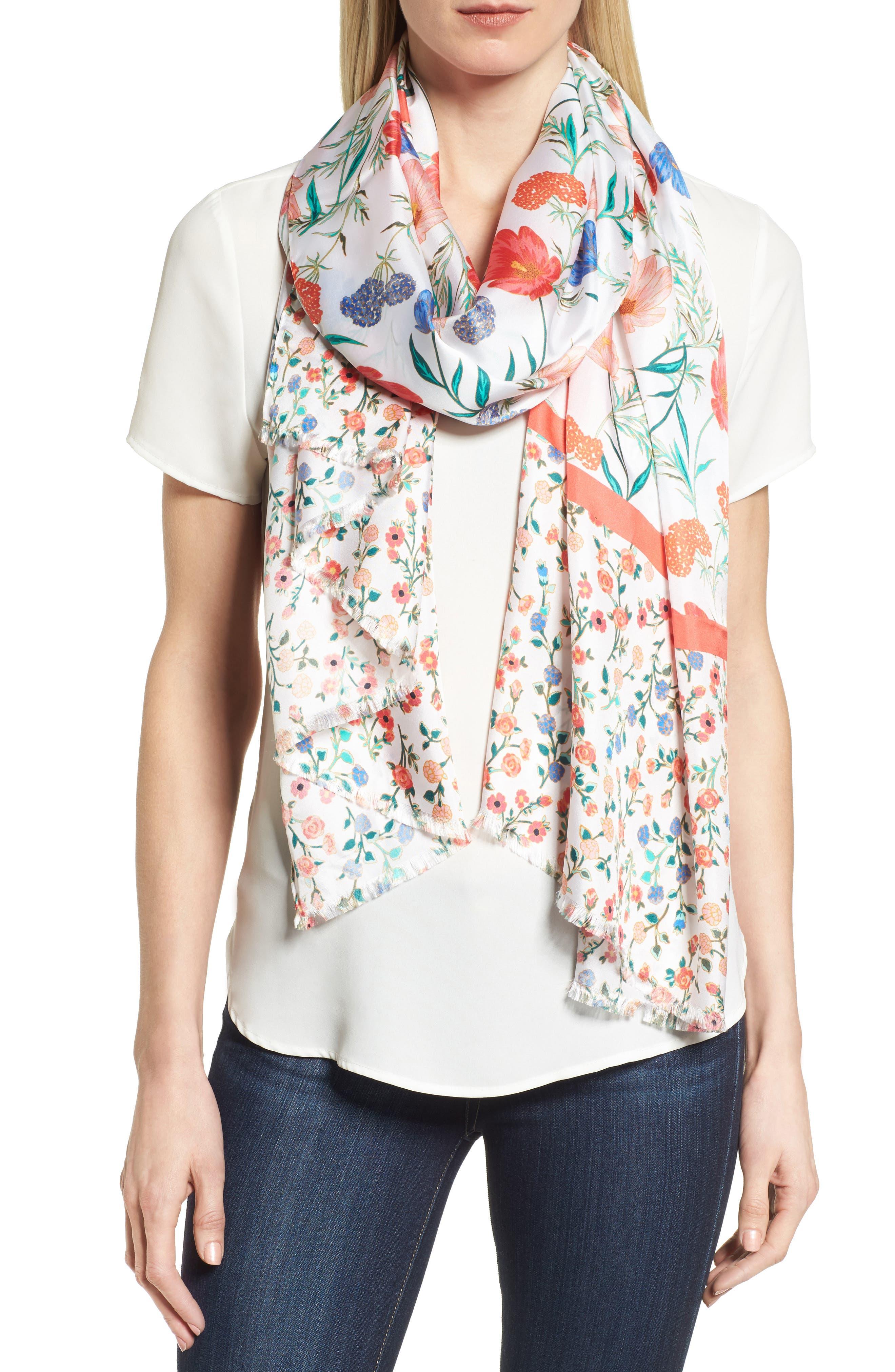 kate spade new york blossom silk scarf