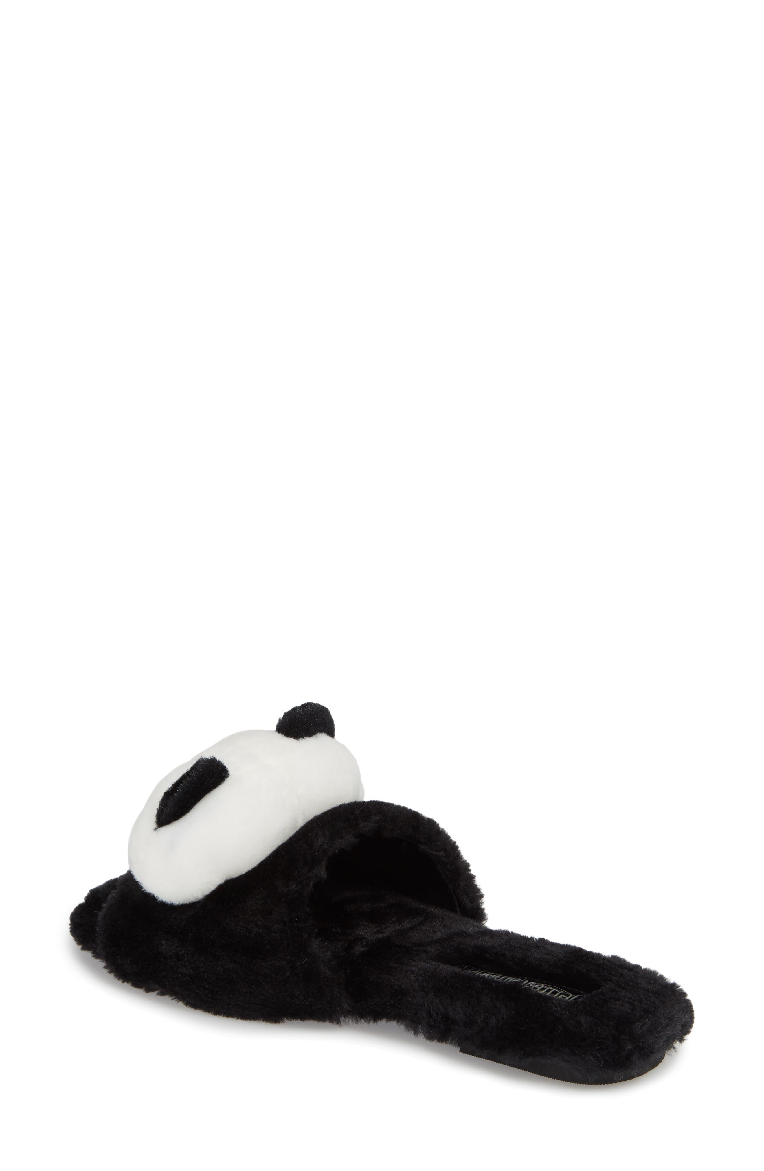 Plush Animal Slipper,                             Alternate thumbnail 2, color,                             Black Faux Fur