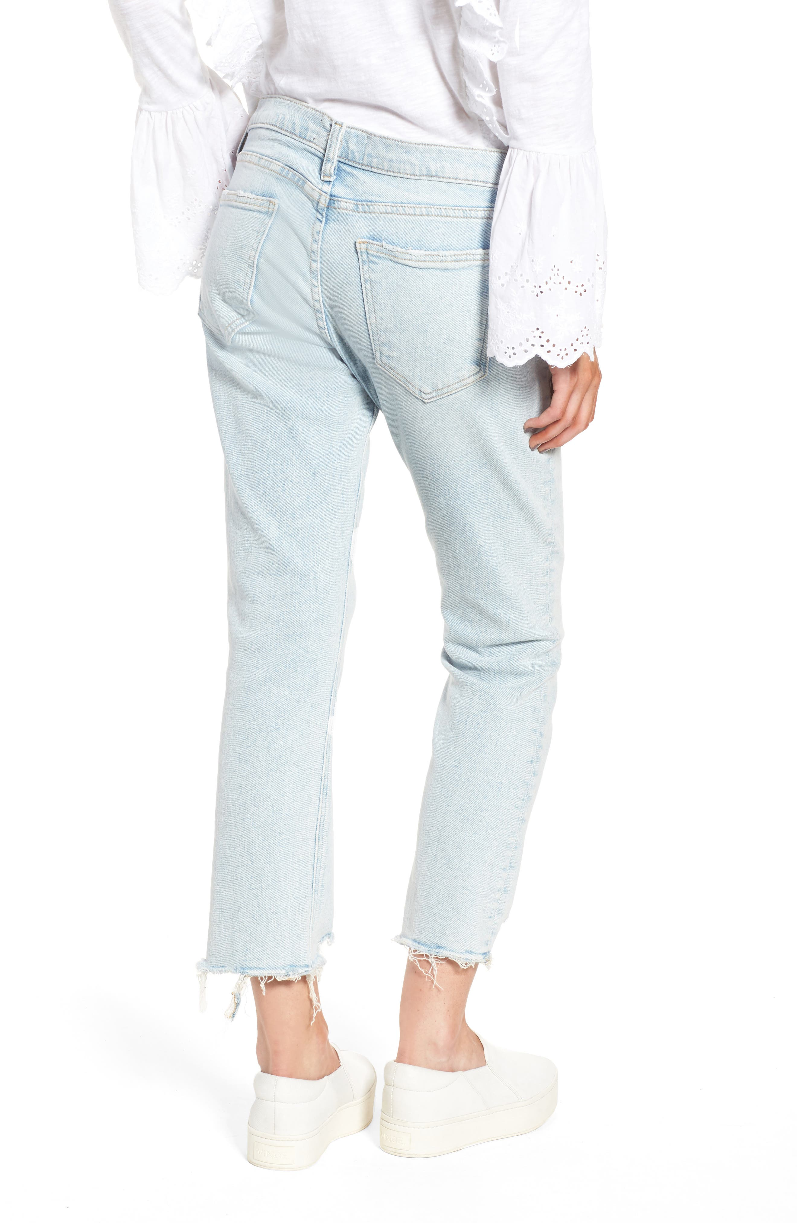 The Cropped Straight Leg Jeans,                             Alternate thumbnail 4, color,                             Cascade W/ Punk Hem