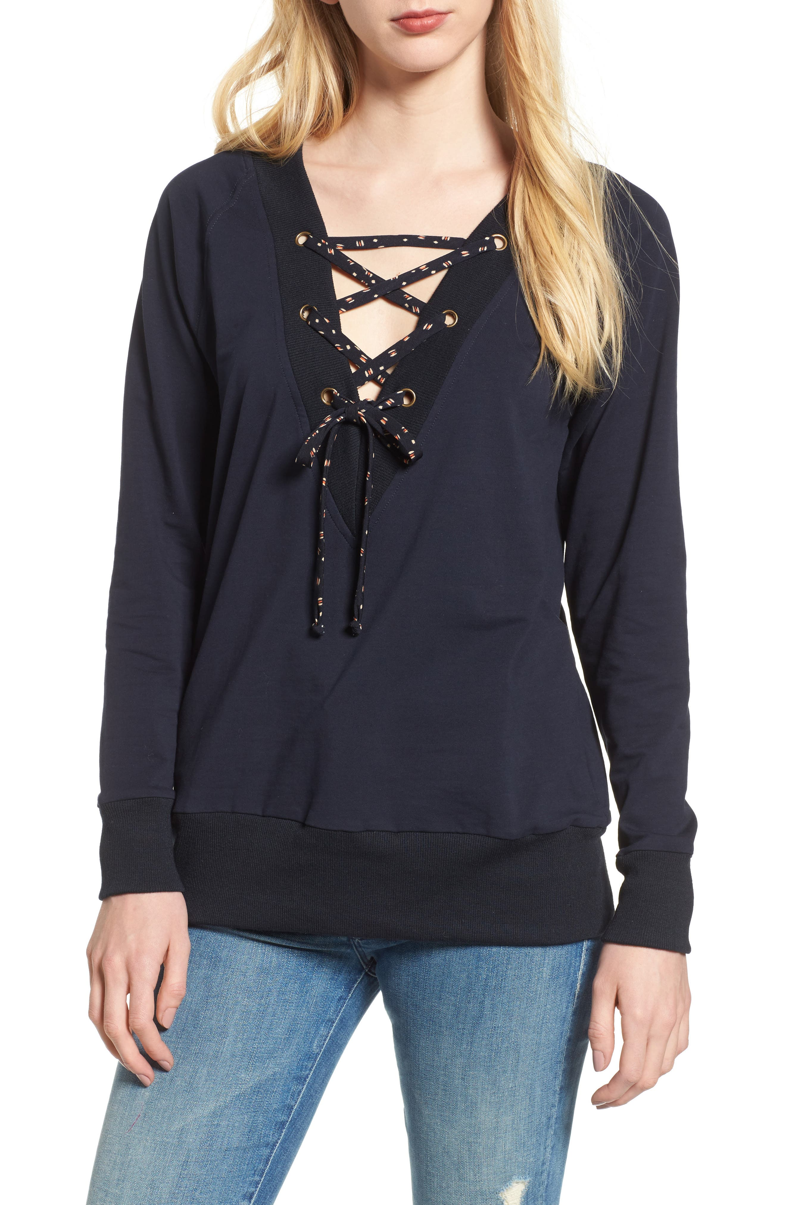 Bishop + Young Teri Lace-Up Top,                         Main,                         color, Navy