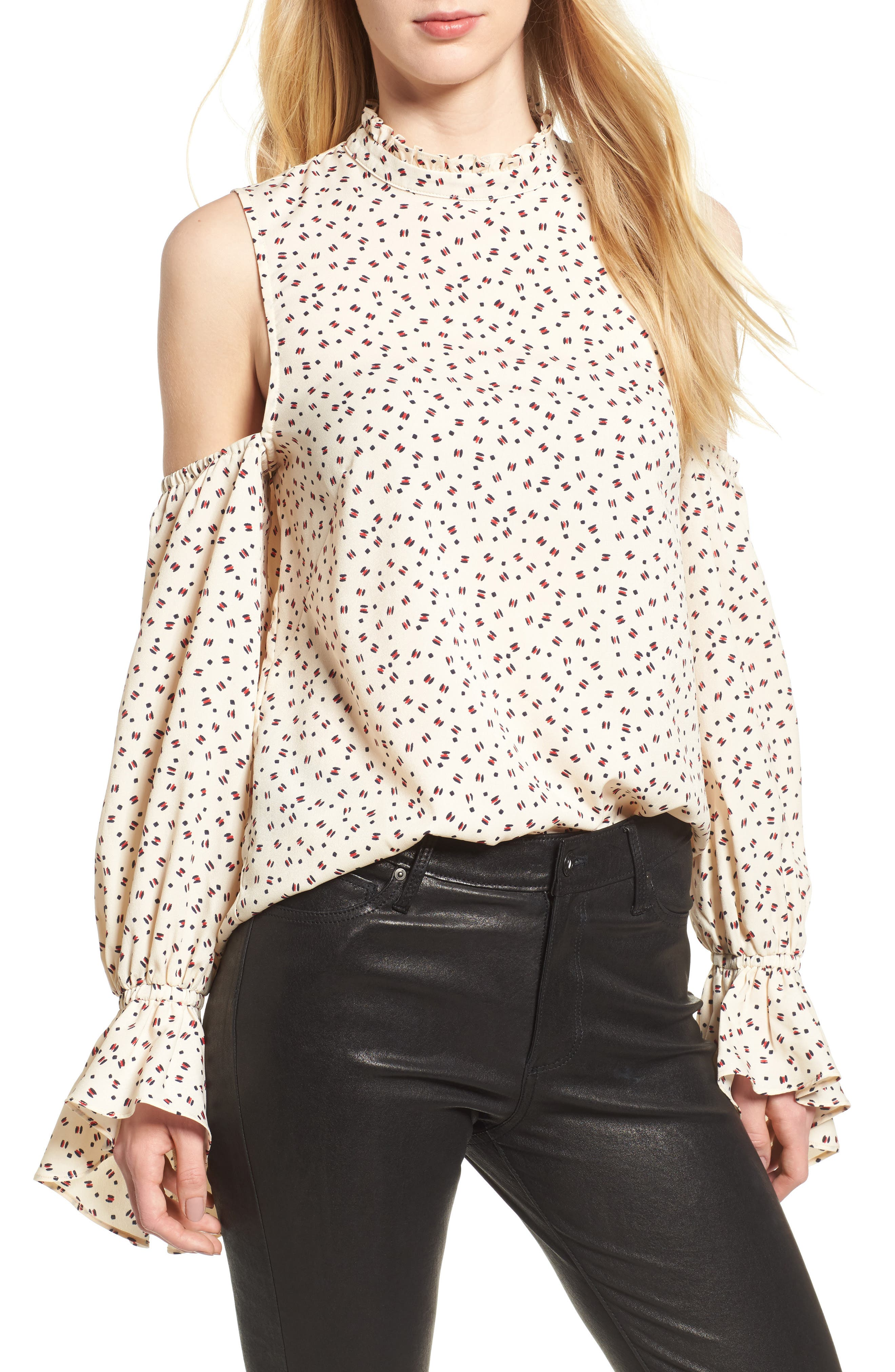 Bishop + Young Cold Shoulder Top,                             Main thumbnail 1, color,                             White Print