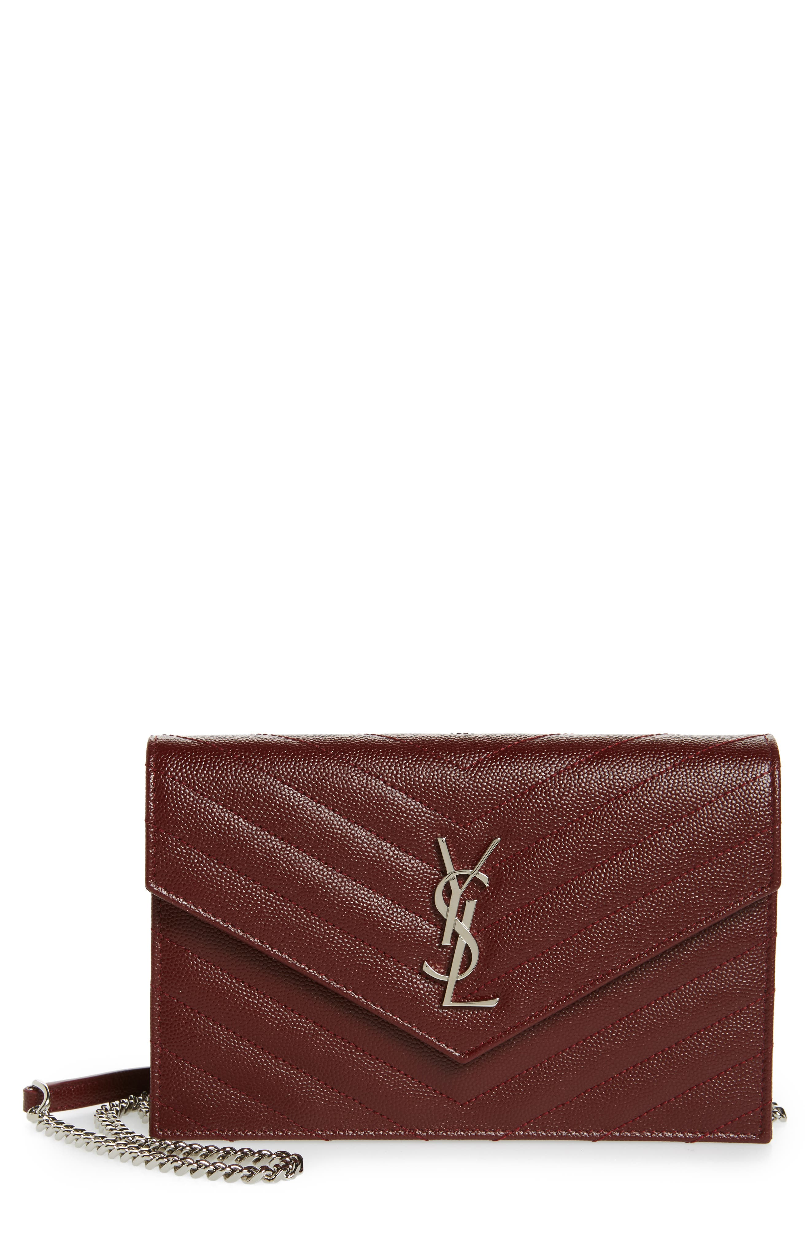 Quilted Calfskin Leather Wallet on a Chain,                         Main,                         color, Bordeaux