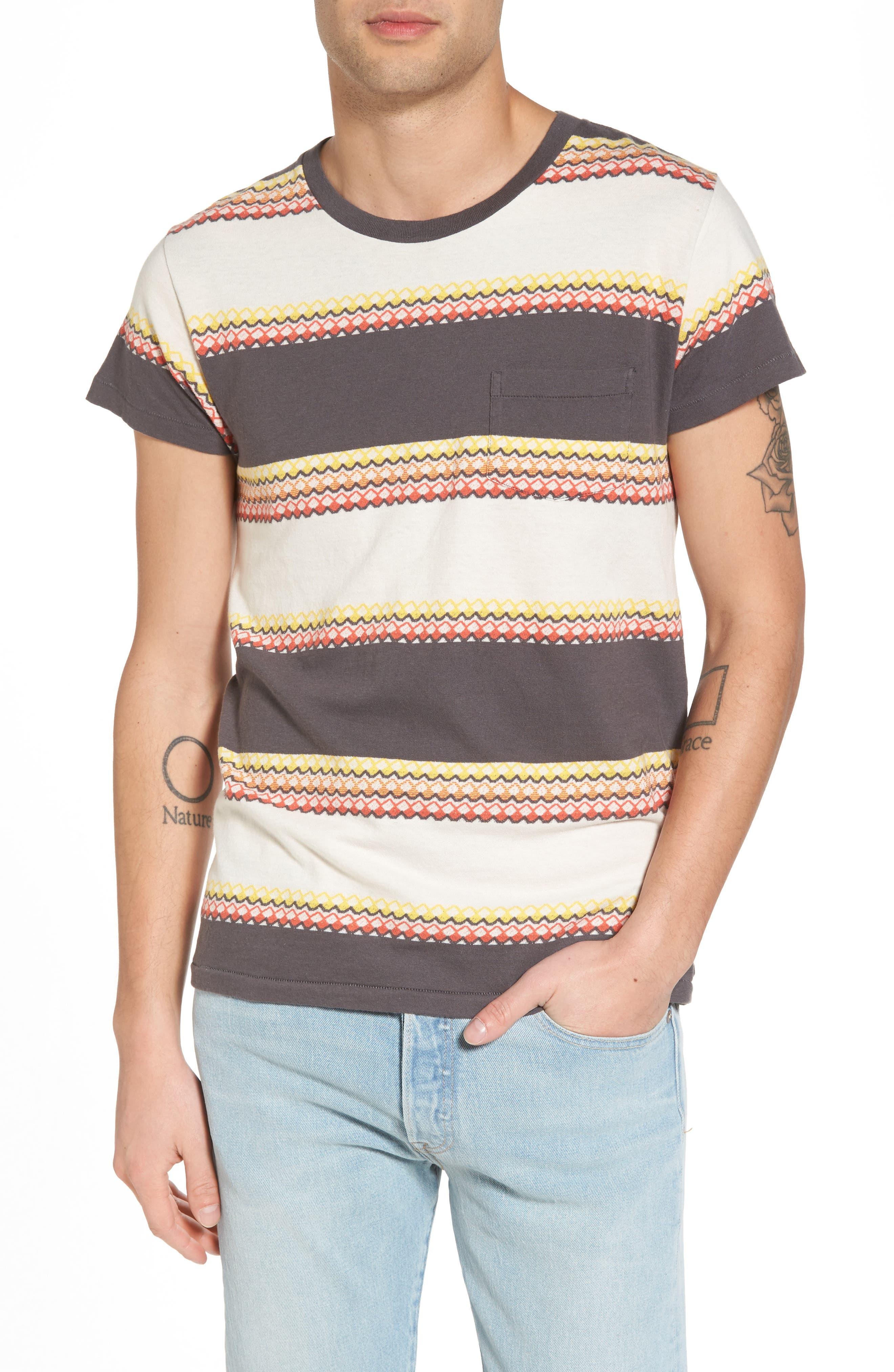 1950s Sportswear Pocket T-Shirt,                             Main thumbnail 1, color,                             Wave Jacquard Blue Multi